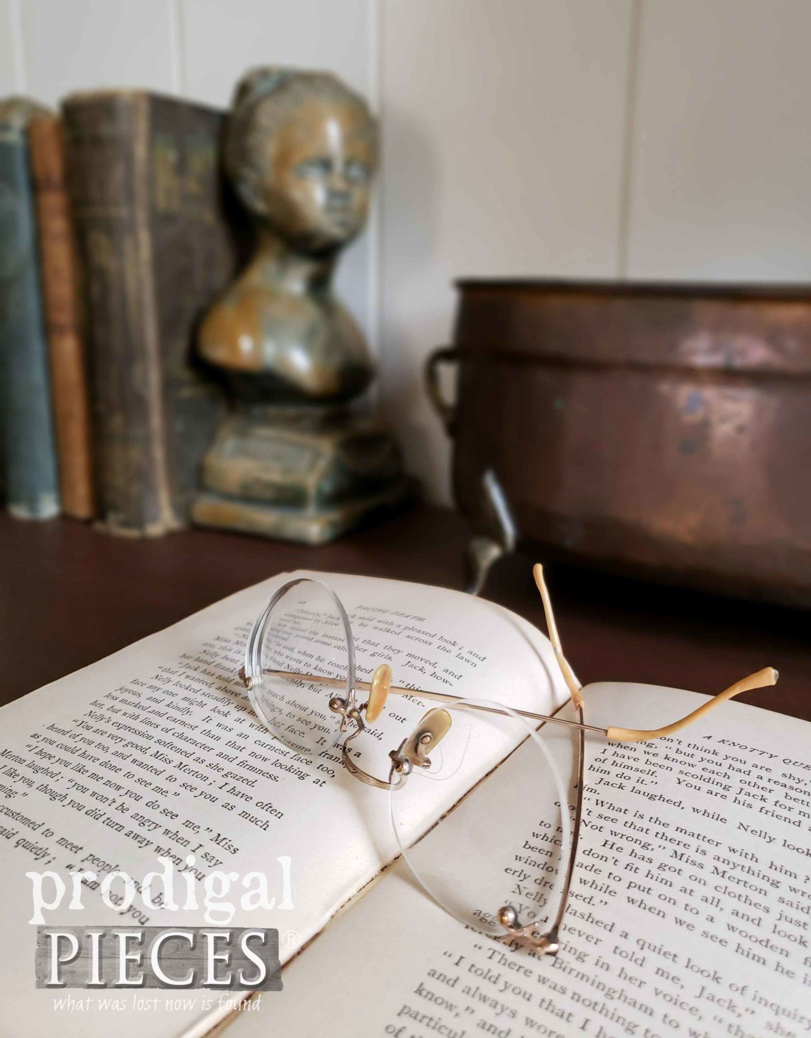 Open Book with Antique Eye Glasses | prodigalpieces.com