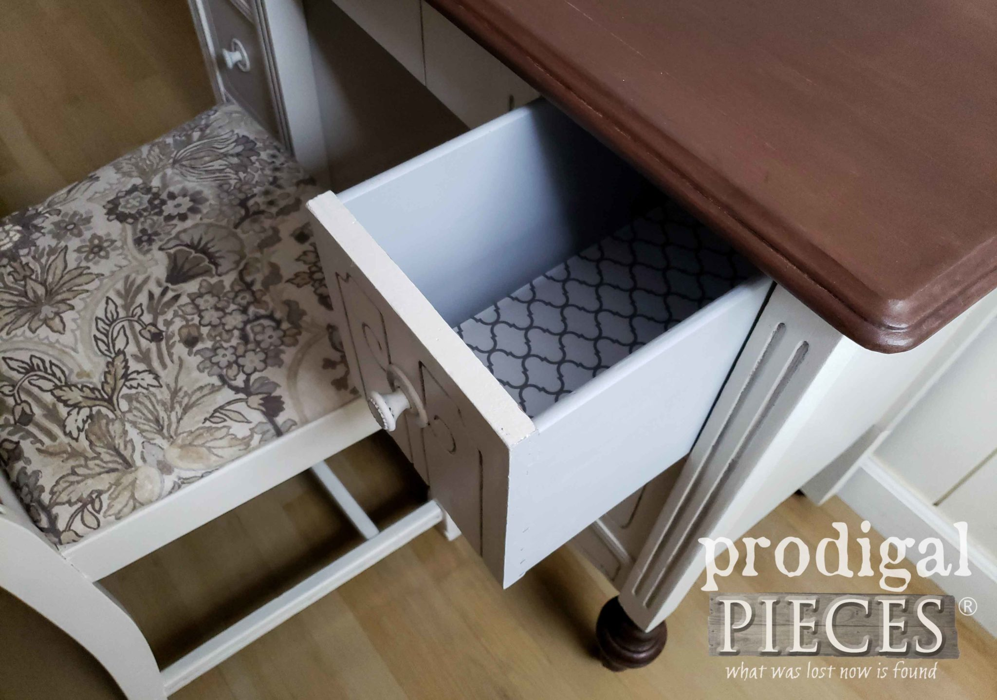 Open Drawer with Painted Sides and Paper Lining on Antique Desk Set | prodigalpieces.com