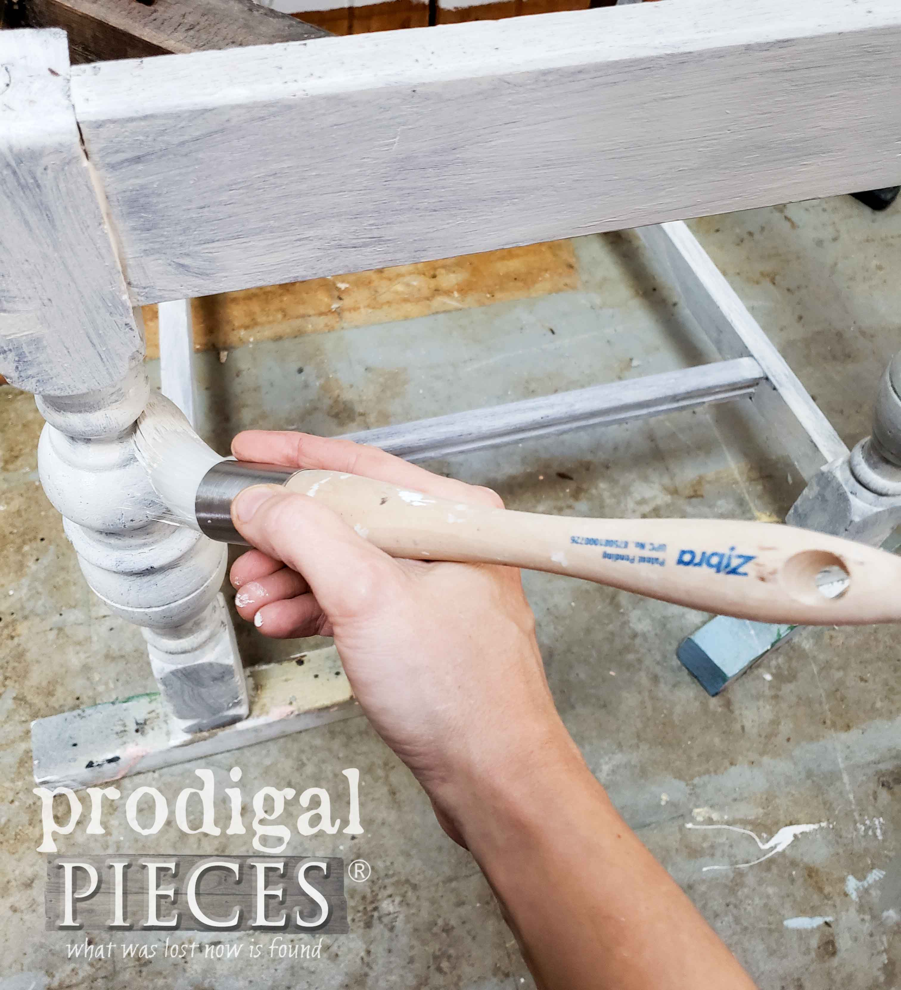 Painting Turned Chair Legs with Zibra Round Brush | prodigalpieces.com