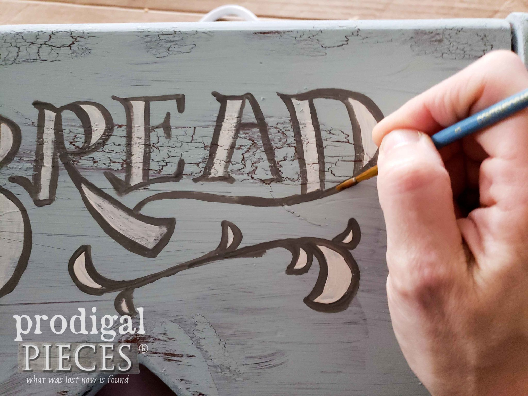 Hand-Painting Typography on Upcycled Charging Station Bread Box by Larissa of Prodigal Pieces | prodigalpieces.com