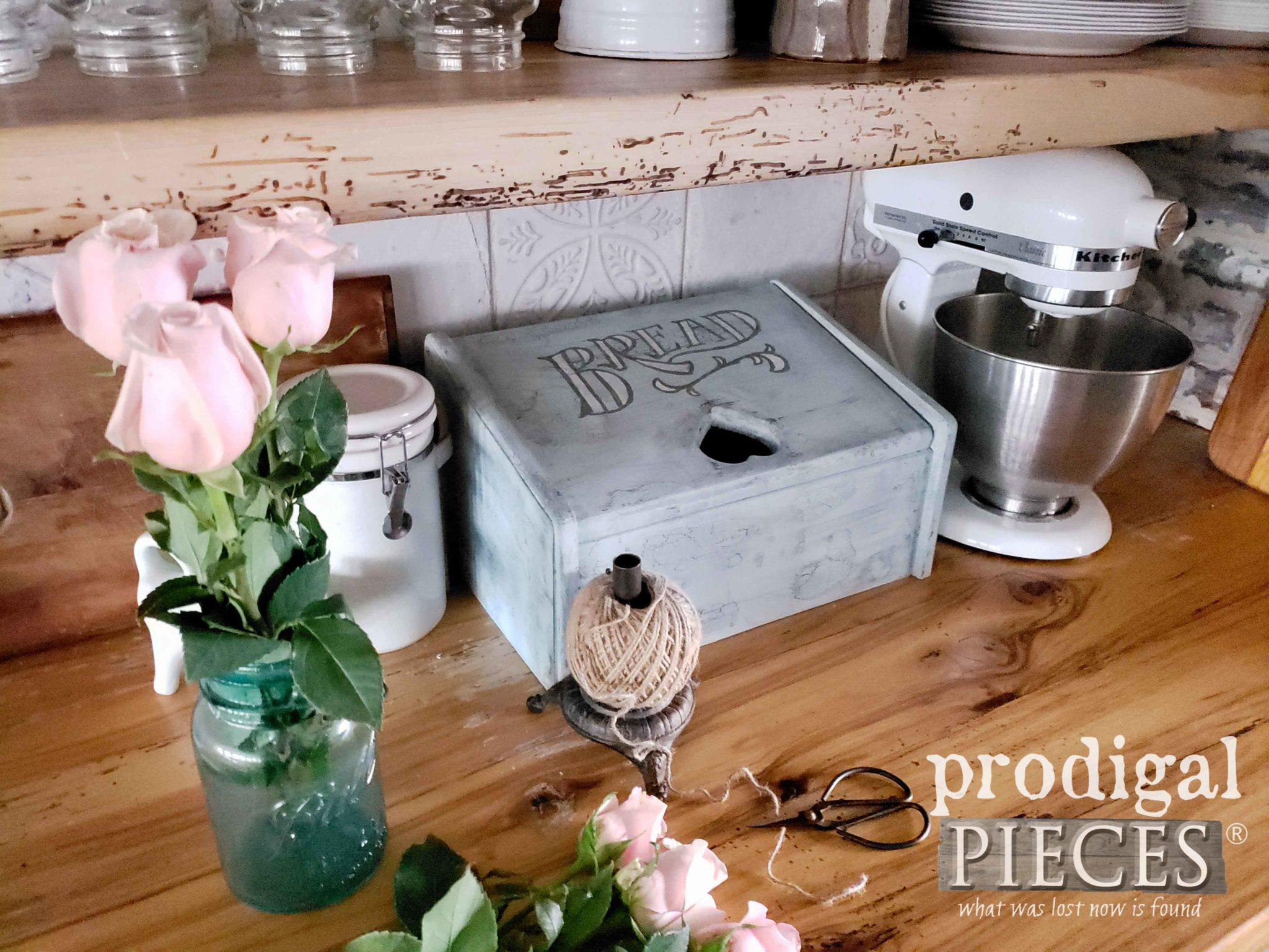 Beautiful Repurposed Vintage Bread Box made into a Charging Station for your Kitchen by Larissa of Prodigal Pieces | Details at prodigalpieces.com