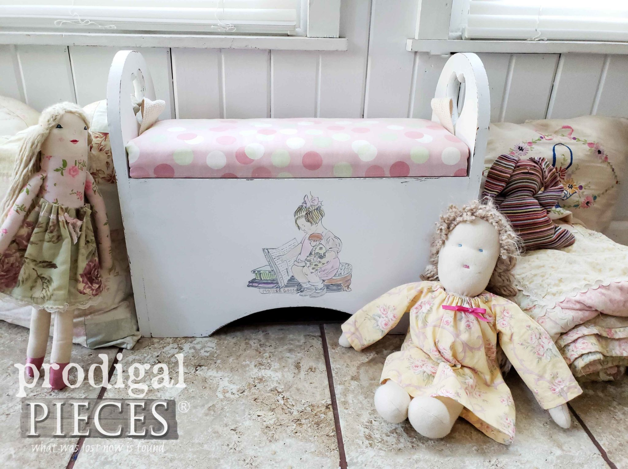 Repurposed Kid's Storage Bench with Upholstered Cushion by Larissa of Prodigal Pieces | prodigalpieces.com