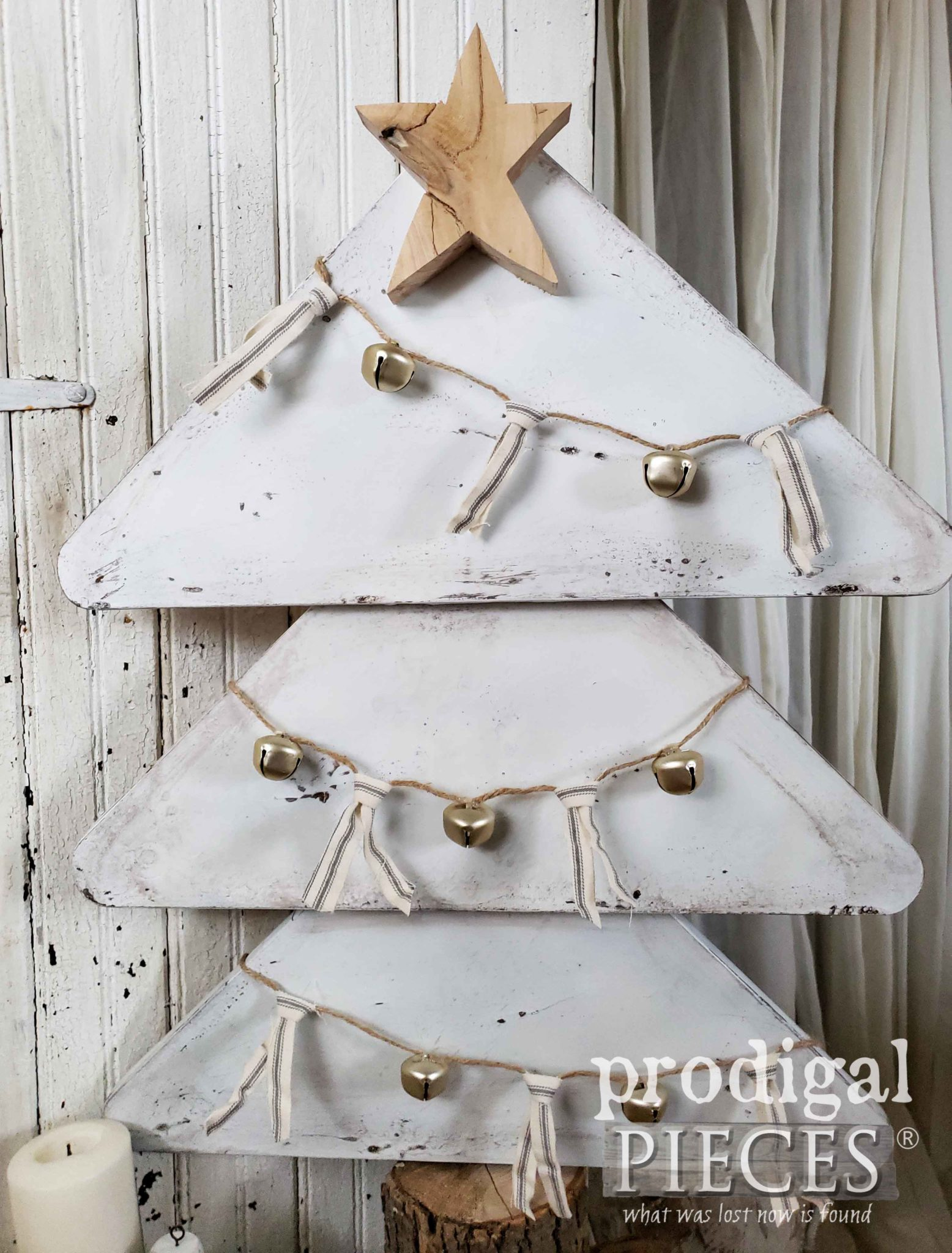 Rustic Farmhouse Christmas Tree Created from an Upcycled Table by Larissa of Prodigal Pieces | prodigalpieces.com