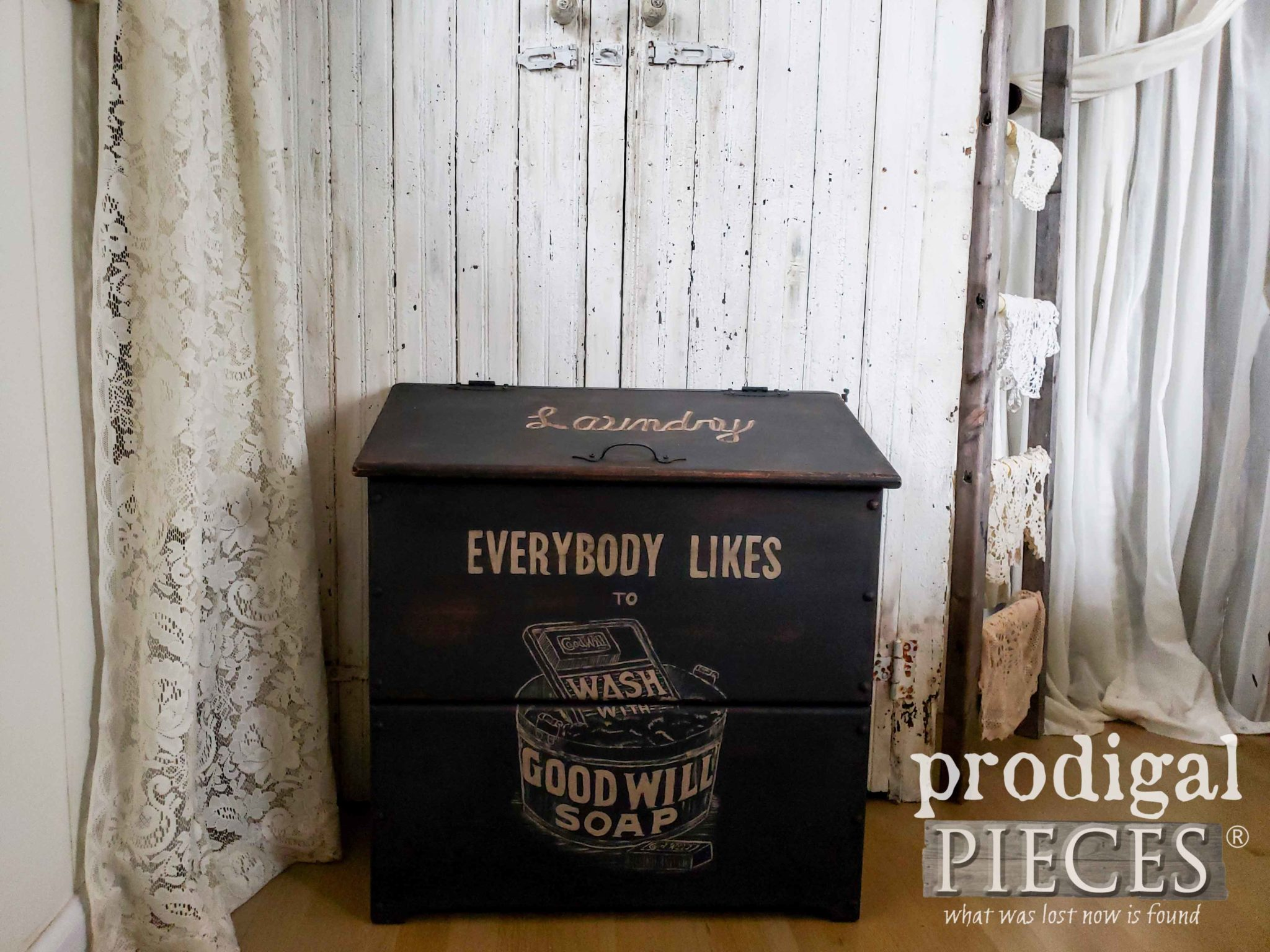 Rustic Farmhouse Laundry Bin by Larissa of Prodigal Pieces | prodigalpieces.com