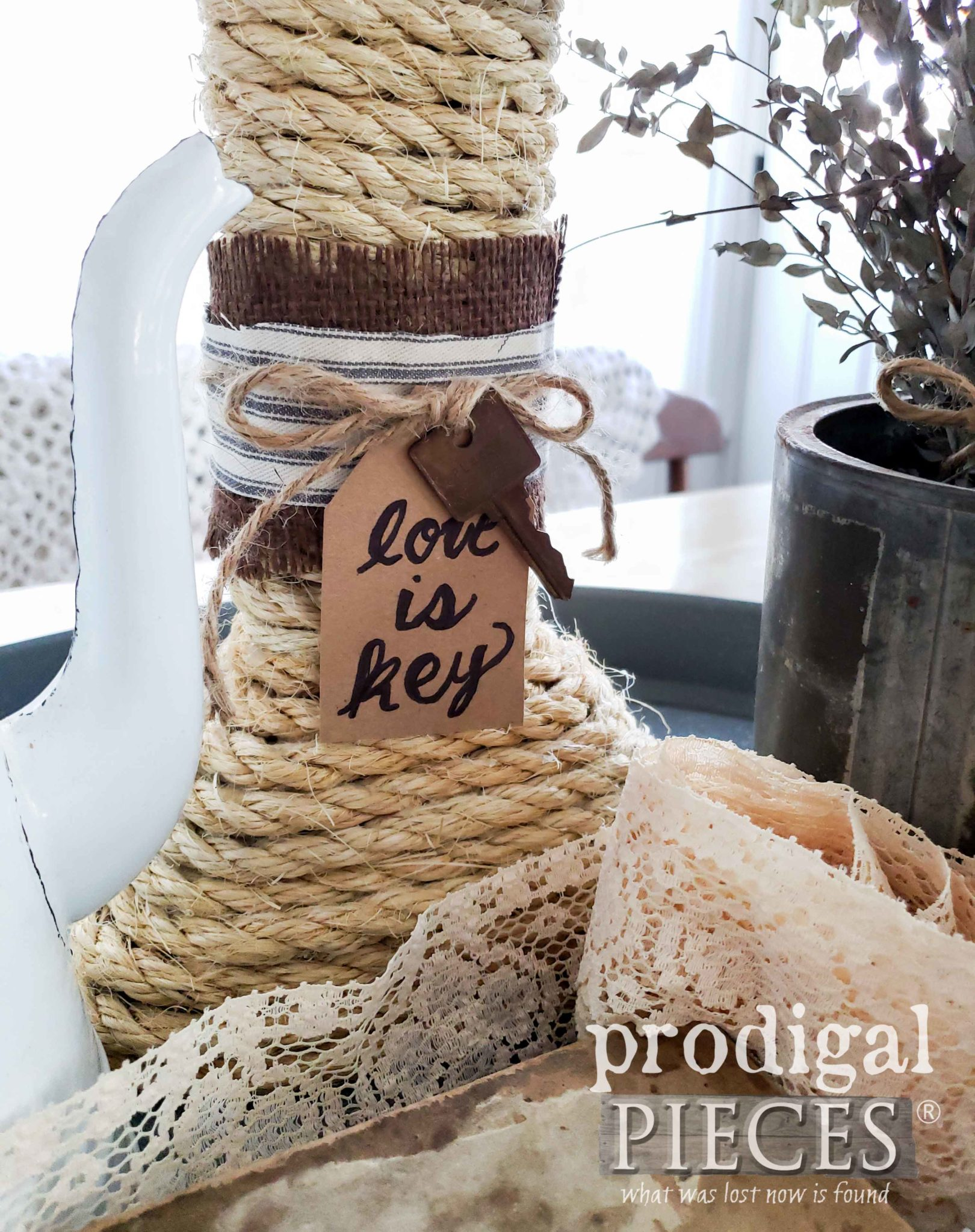 "Rustic Farmhouse Pillar Candle with Rusty ""Love is Key"" Accent by Larissa of Prodigal Pieces 