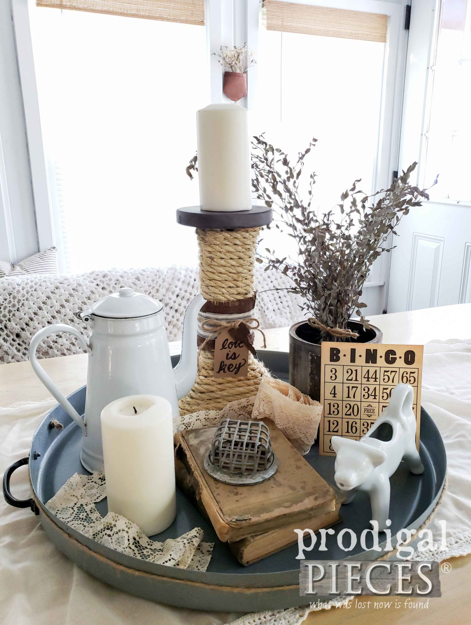 Create a Rustic Farmhouse Tray Vignette with Vintage Finds | Prodigal Pieces | prodigalpieces.com