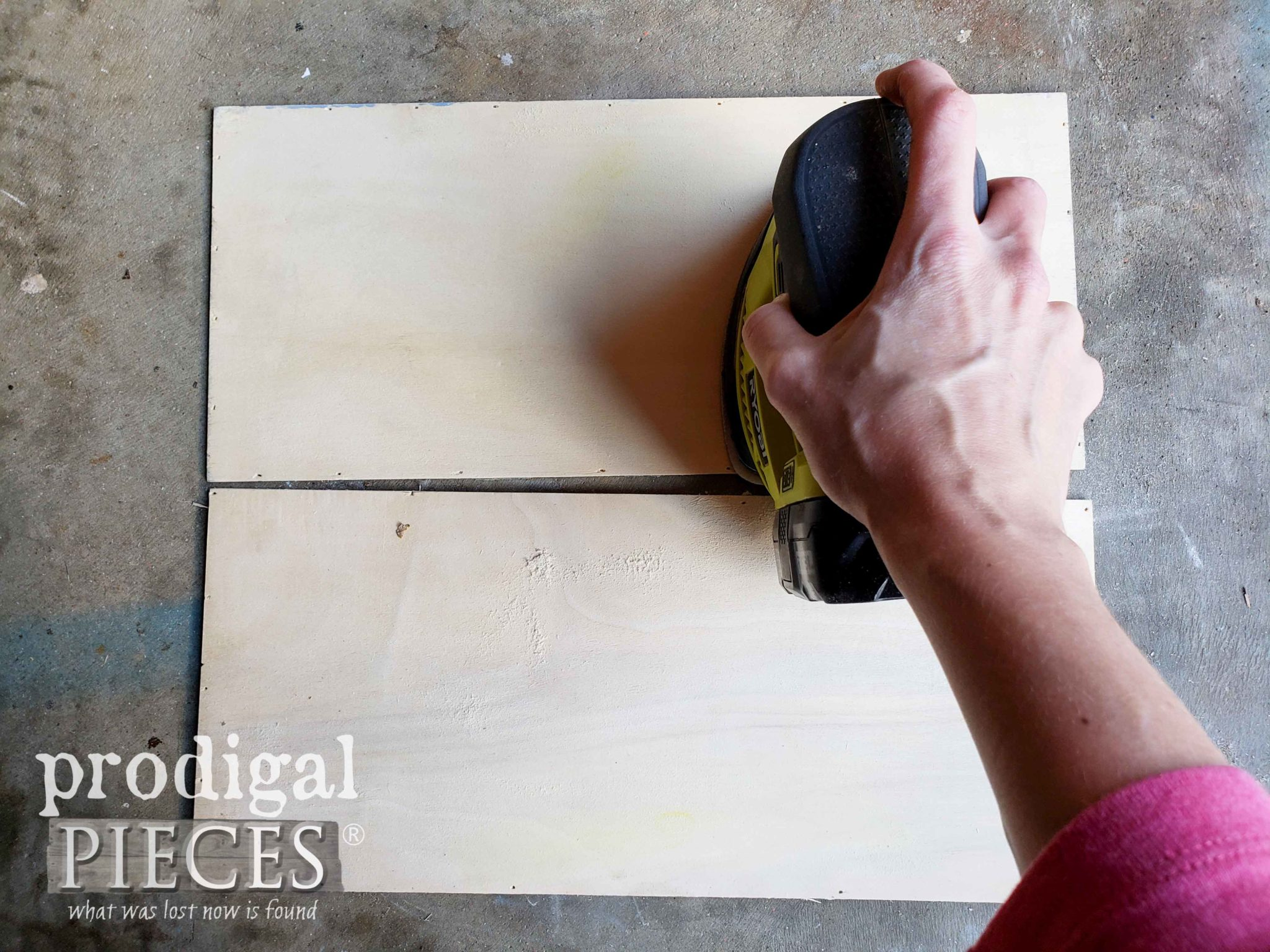 Sanding Boards with Ryobi Corner Cat Sander by Prodigal Pieces | prodigalpieces.com