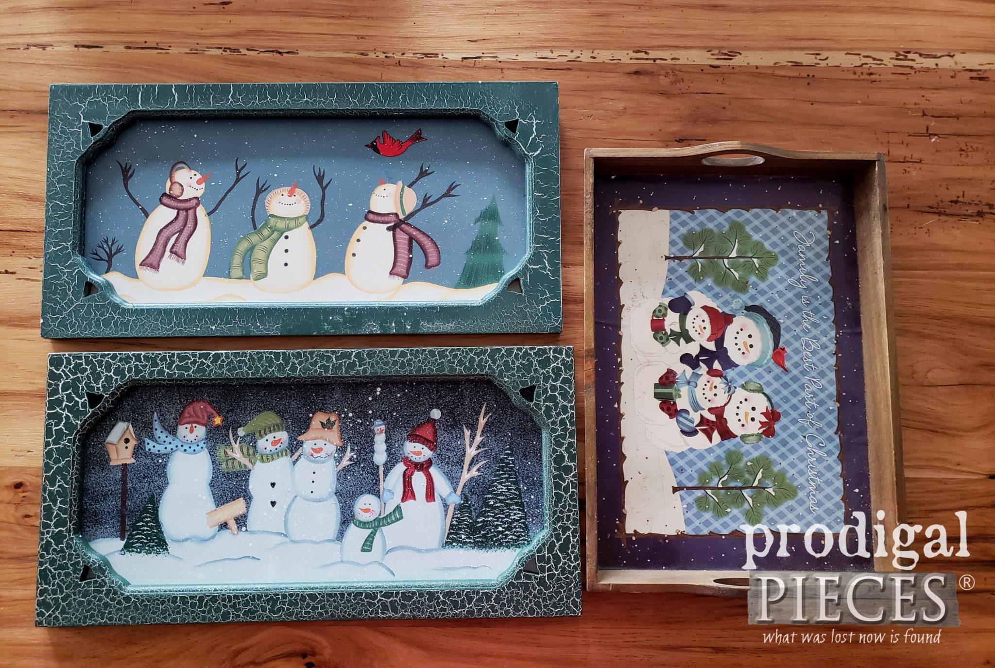 Thrifted Snowman Christmas Decor Before Makeover | prodigalpieces.com