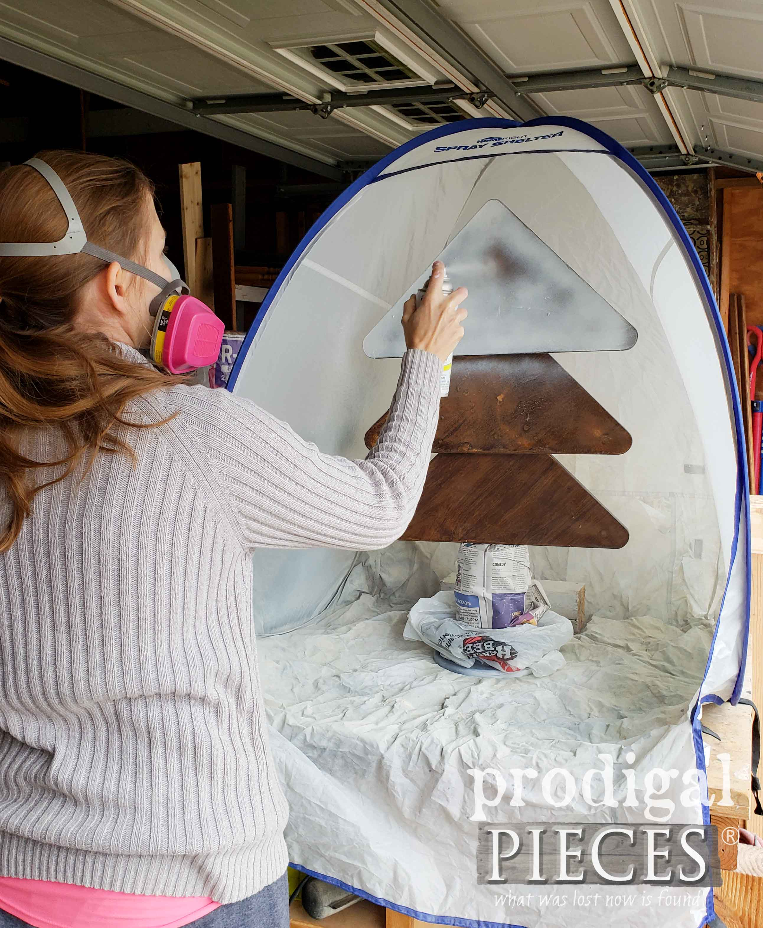 Spray Painting Repurposed Christmas Tree with HomeRight Spray Shelter | prodigalpieces.com