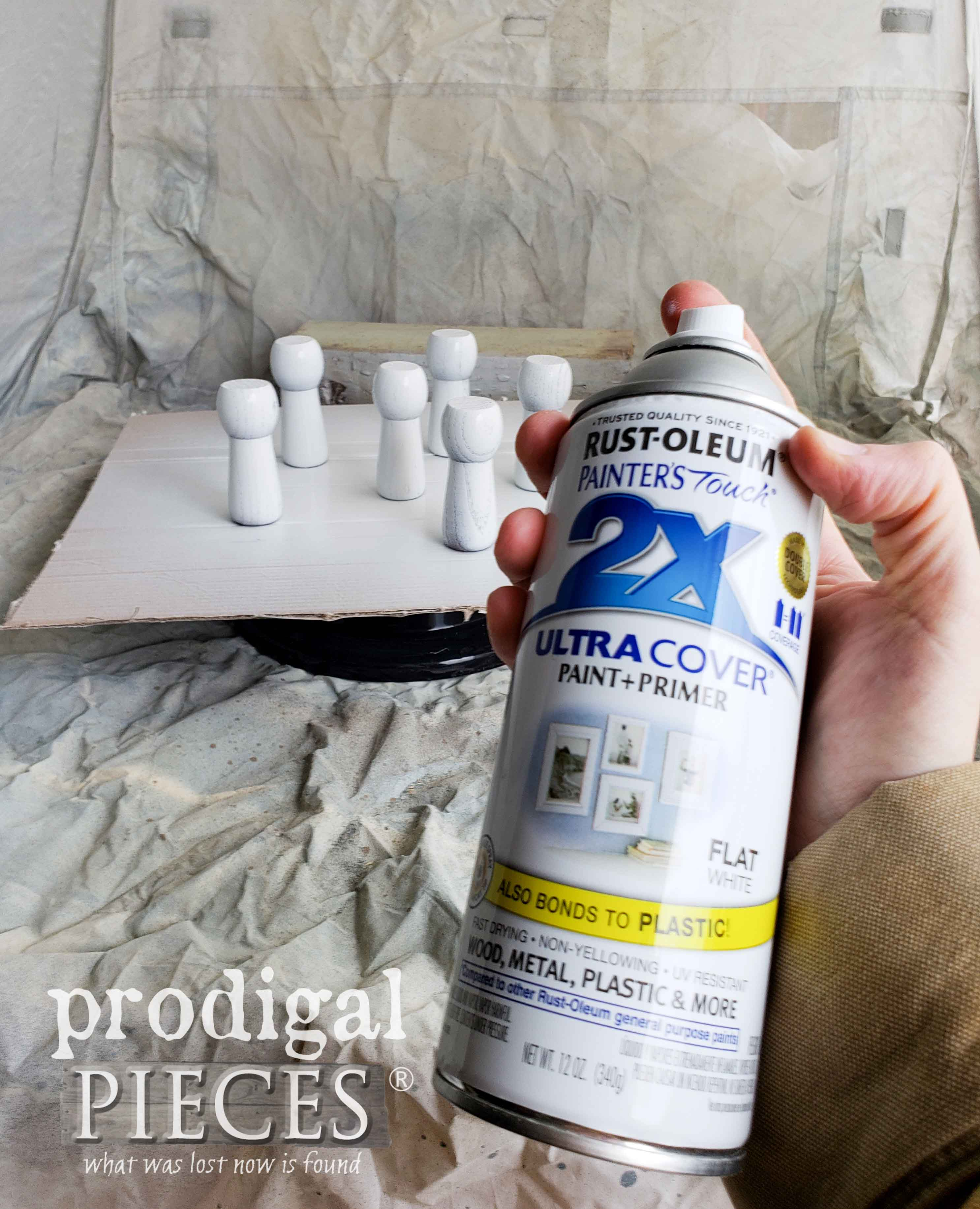 Spray Painting Repurposed Table Feet Turned Ornaments | prodigalpieces.com