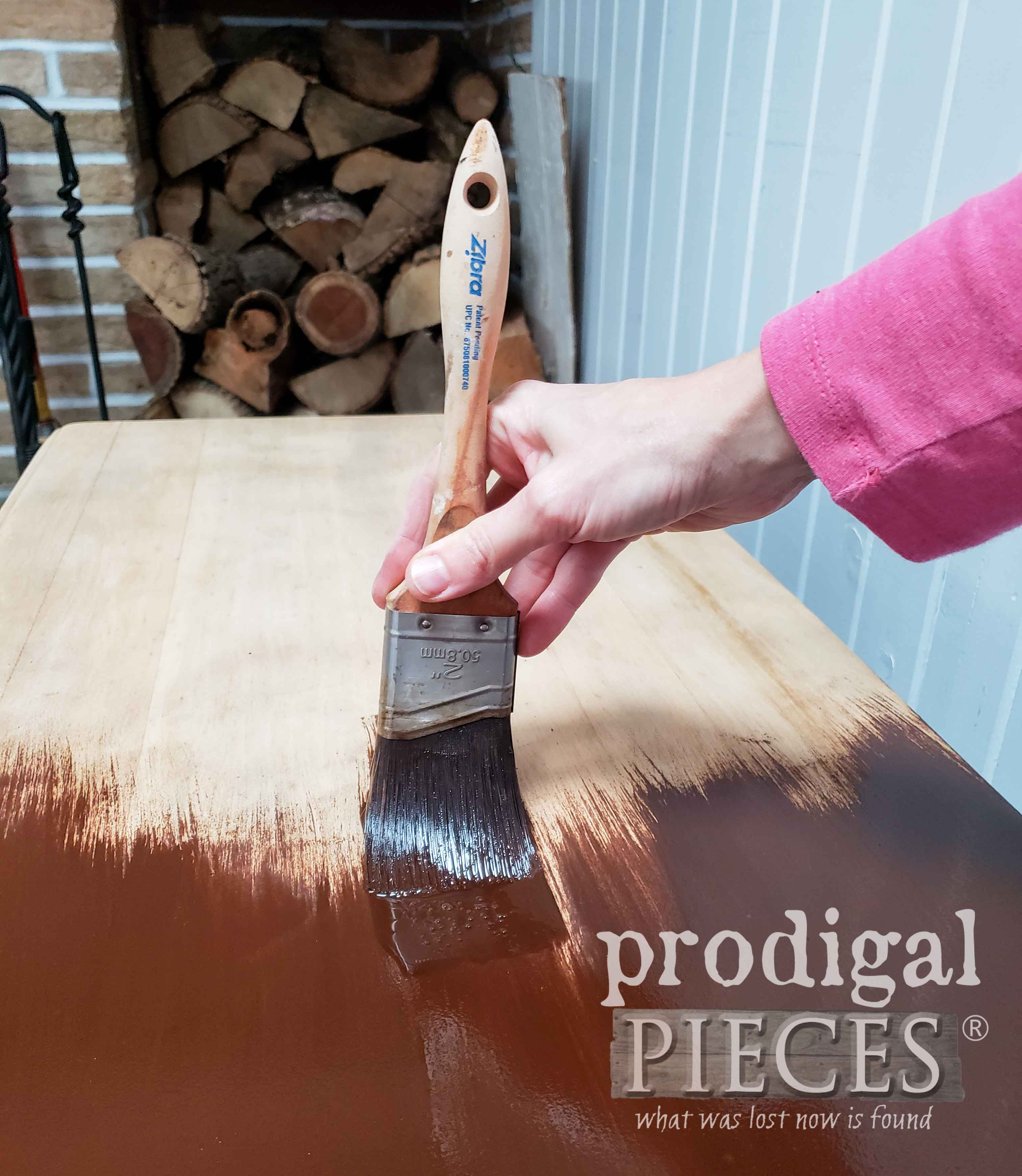 Staining Antique Desk Top with Zibra Paint Brush | prodigalpieces.com