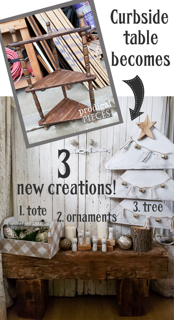 DIY Upcycled Christmas Tree, Buffalo Check Tote, and Woodland Animal Ornaments Created from One Curbside Table | Full details at Prodigal Pieces | prodigalpieces.com #prodigalpieces #handmade #diy #christmas #farmhouse #home #homedecor #homedecorideas