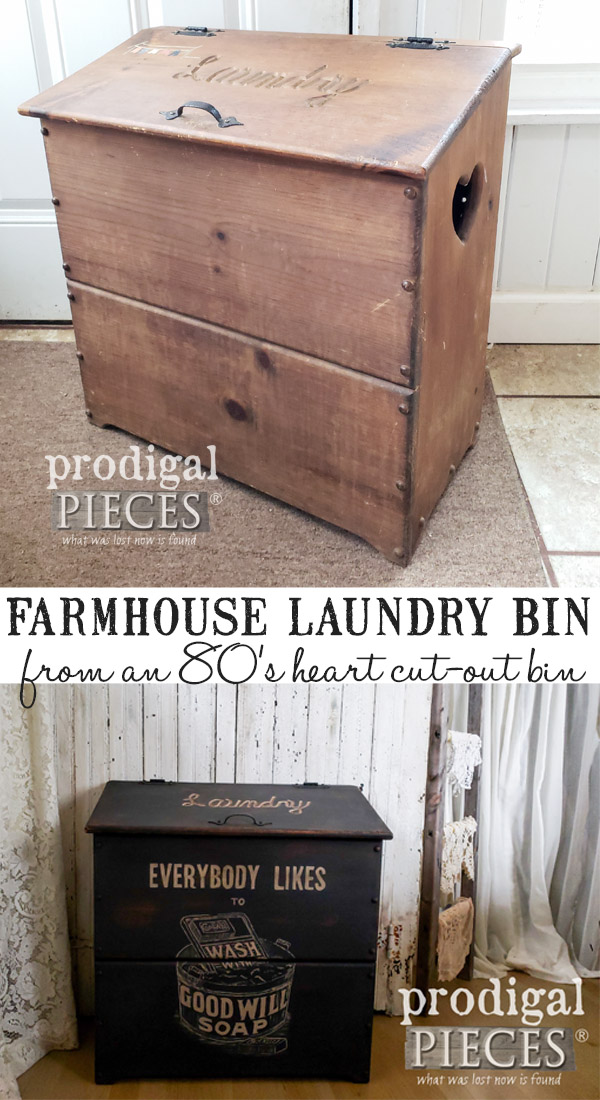 This 1980's heart cut-out bin needed some pizzazz. Larissa of Prodigal Pieces gave it a much needed makeover with some fun. See the full DIY details at Prodigal Pieces | prodigalpieces.com #prodigalpieces #diy #handmade #home #homedecor #homedecorideas #farmhouse #vintage