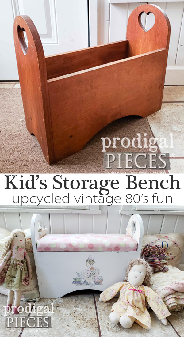 How cut is this?! A vintage 80's magazine holder is upcycled into a sweet kid's storage bench. See the DIY details at Prodigal Pieces | prodigalpieces.com #prodigalpieces #diy #handmade #home #homedecor #homedecorideas #furniture #kids