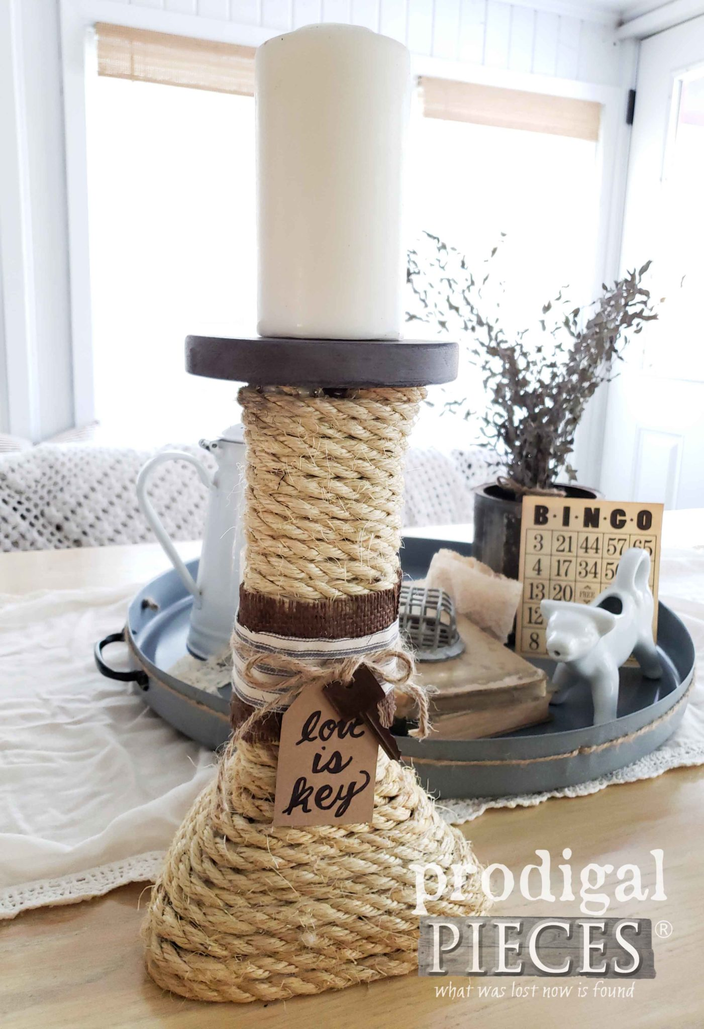 Upcycled Sisal Rope Candle Holder Made from Broken Table Legs | DIY by Larissa of Prodigal Pieces | prodigalpieces.com