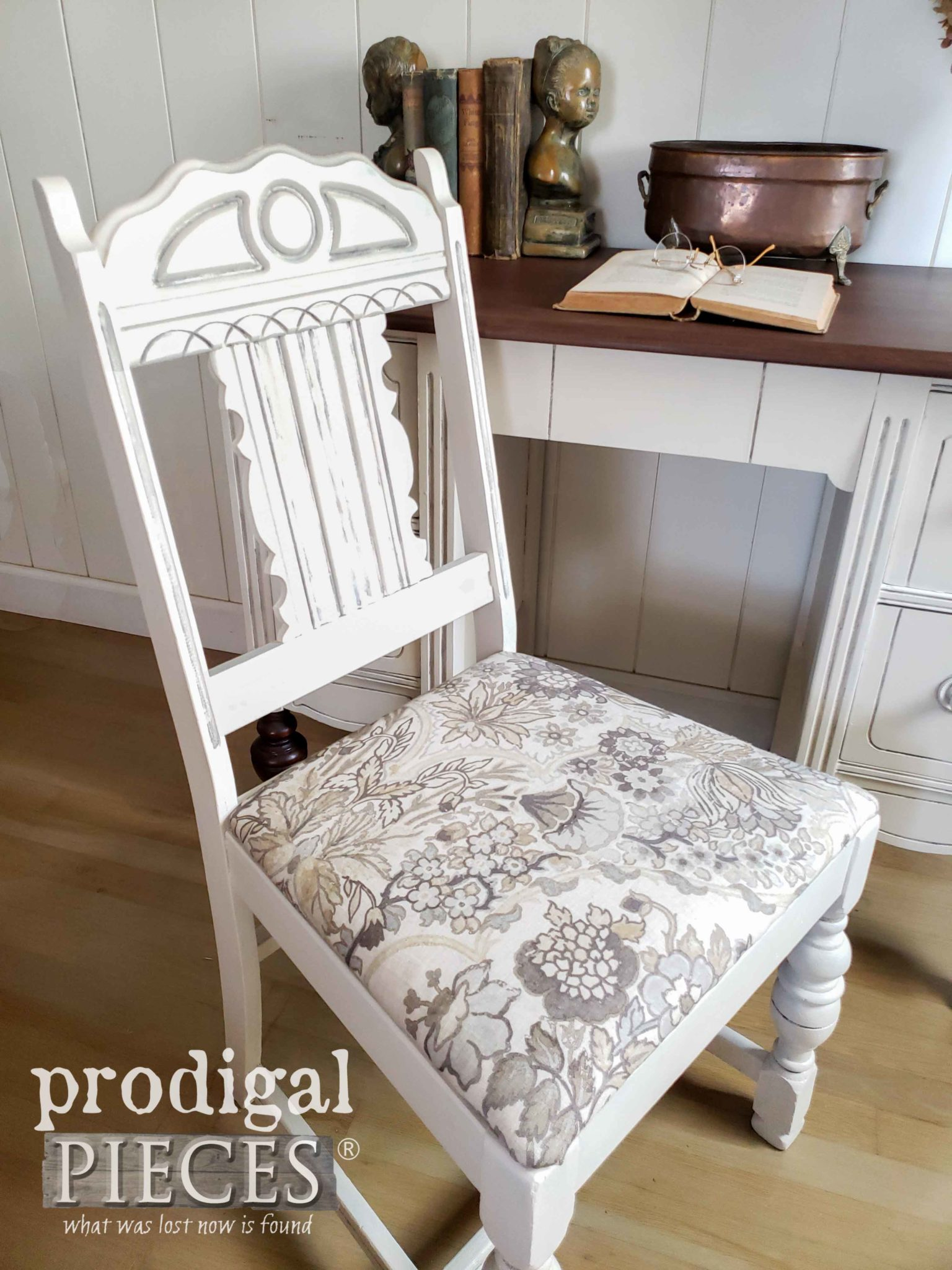 Chair with 100% Linen Upholstery for Antique Desk Set by Larissa of Prodigal Pieces | prodigalpieces.com