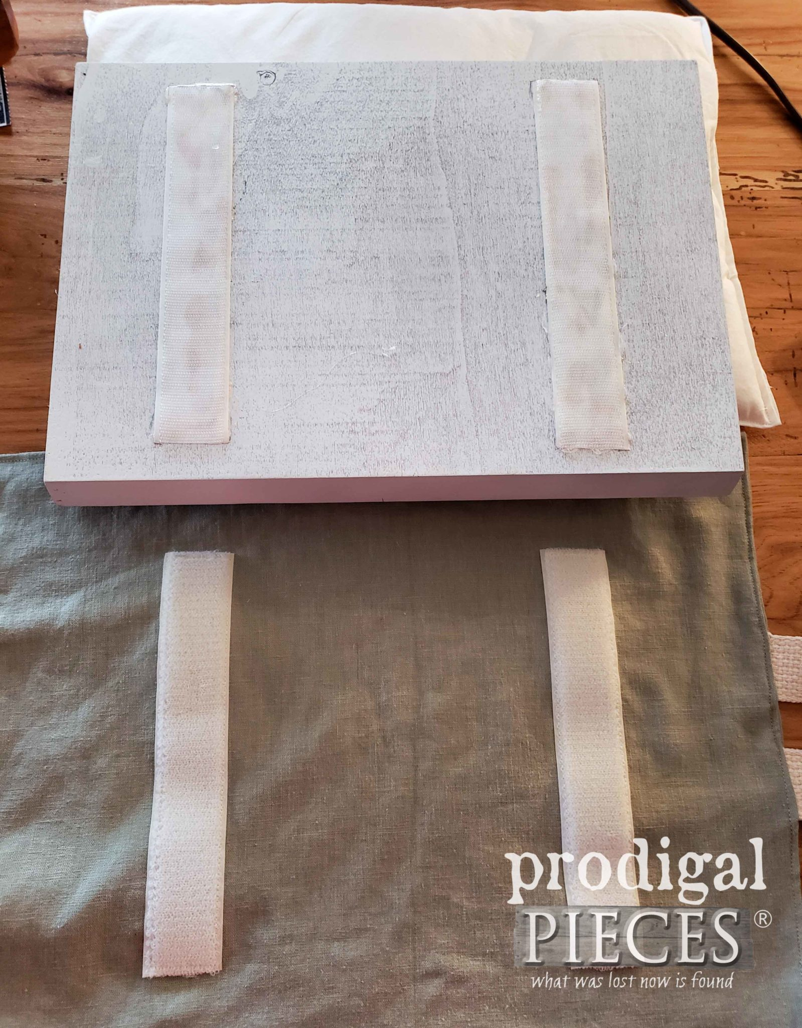 Adding Velcro to Tray and Rice Pillow   prodigalpieces.com