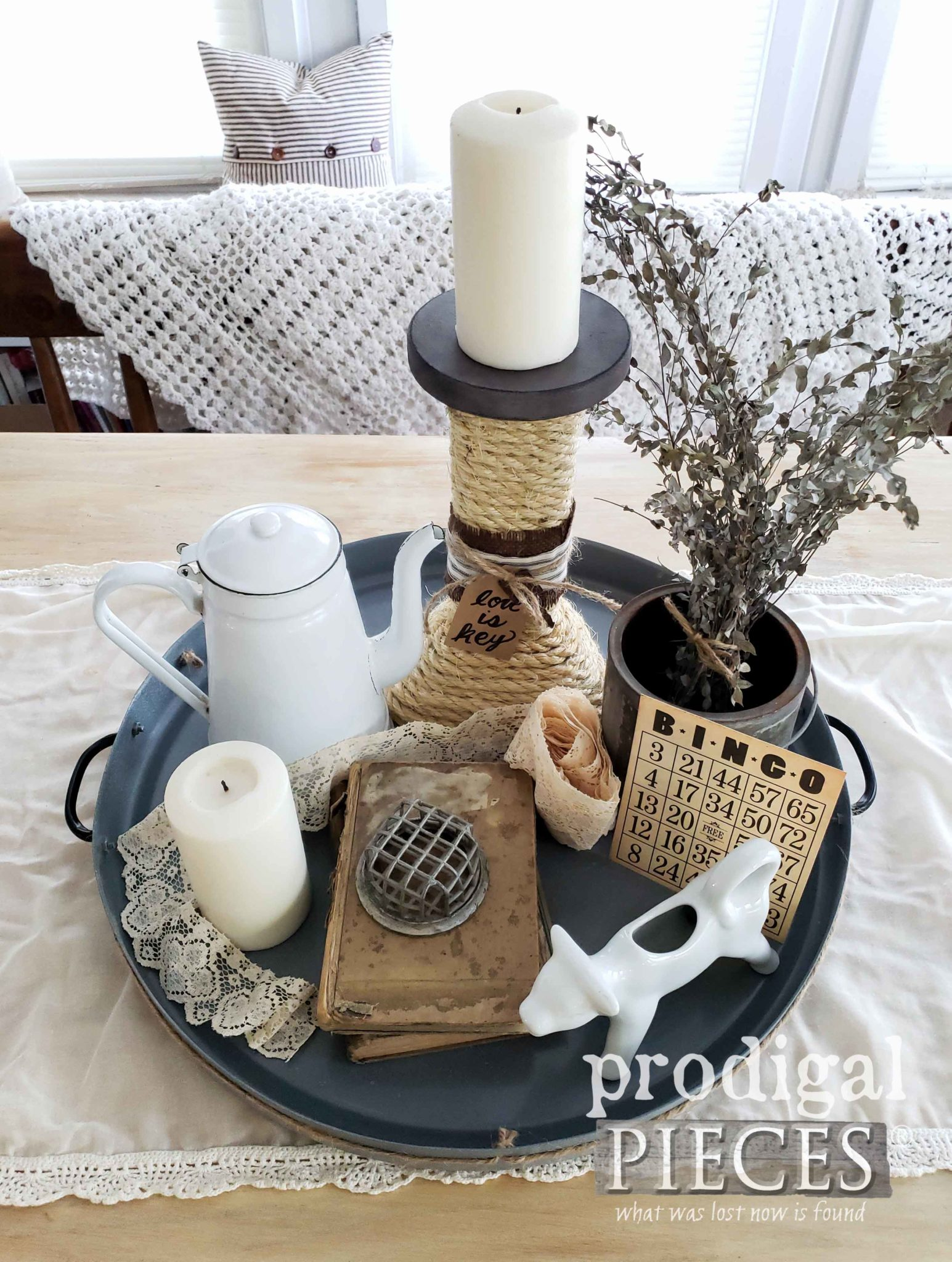 Vintage Farmhouse Tray with Thrift Store Finds Vignette by Larissa of Prodigal Pieces | prodigalpieces.com