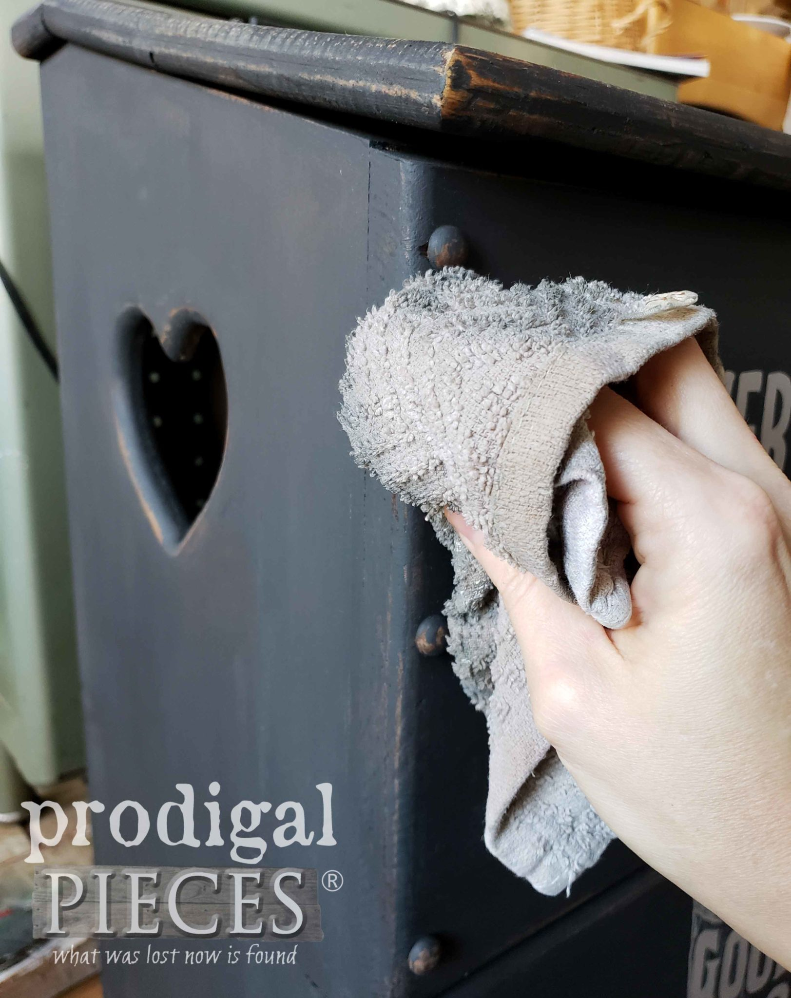 Wet Distressing Farmhouse Laundry Bin by Prodigal Pieces | prodigalpieces.com