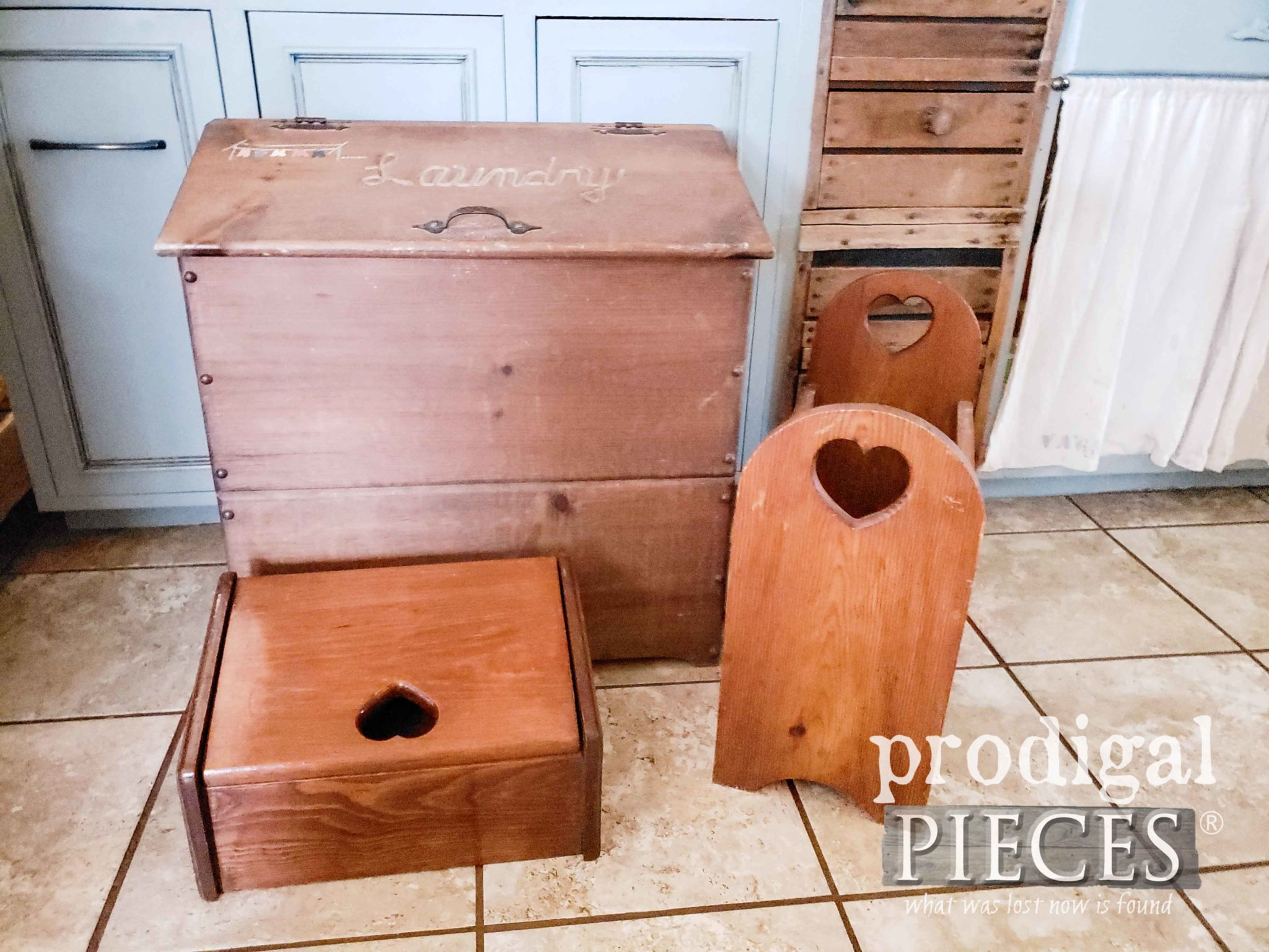 Vintage Thrift Store Heart Cut-Out Wooden Bins | prodigalpieces.com