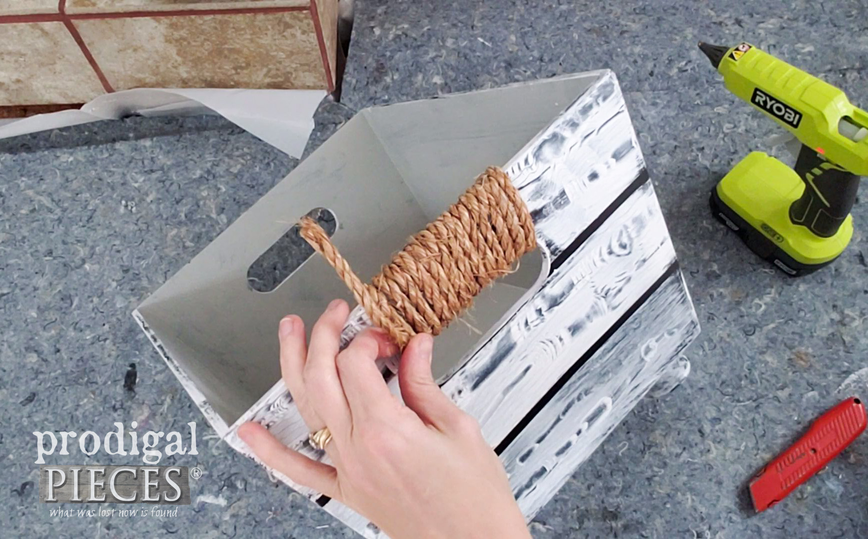 Adding Rope to Farmhouse Bathroom Storage Bin Handles | prodigalpieces.com