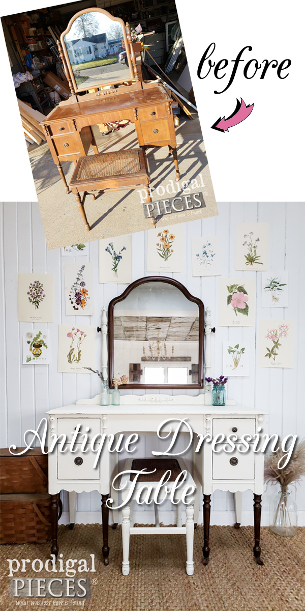 This once dilapidated antique dressing table set is now restored and showcases farmhouse style. Full DIY details by Larissa of Prodigal Pieces at prodigalpieces.com #prodigalpieces #furniture #diy #farmhouse #shopping #home #homedecor #homedecorideas #vintage