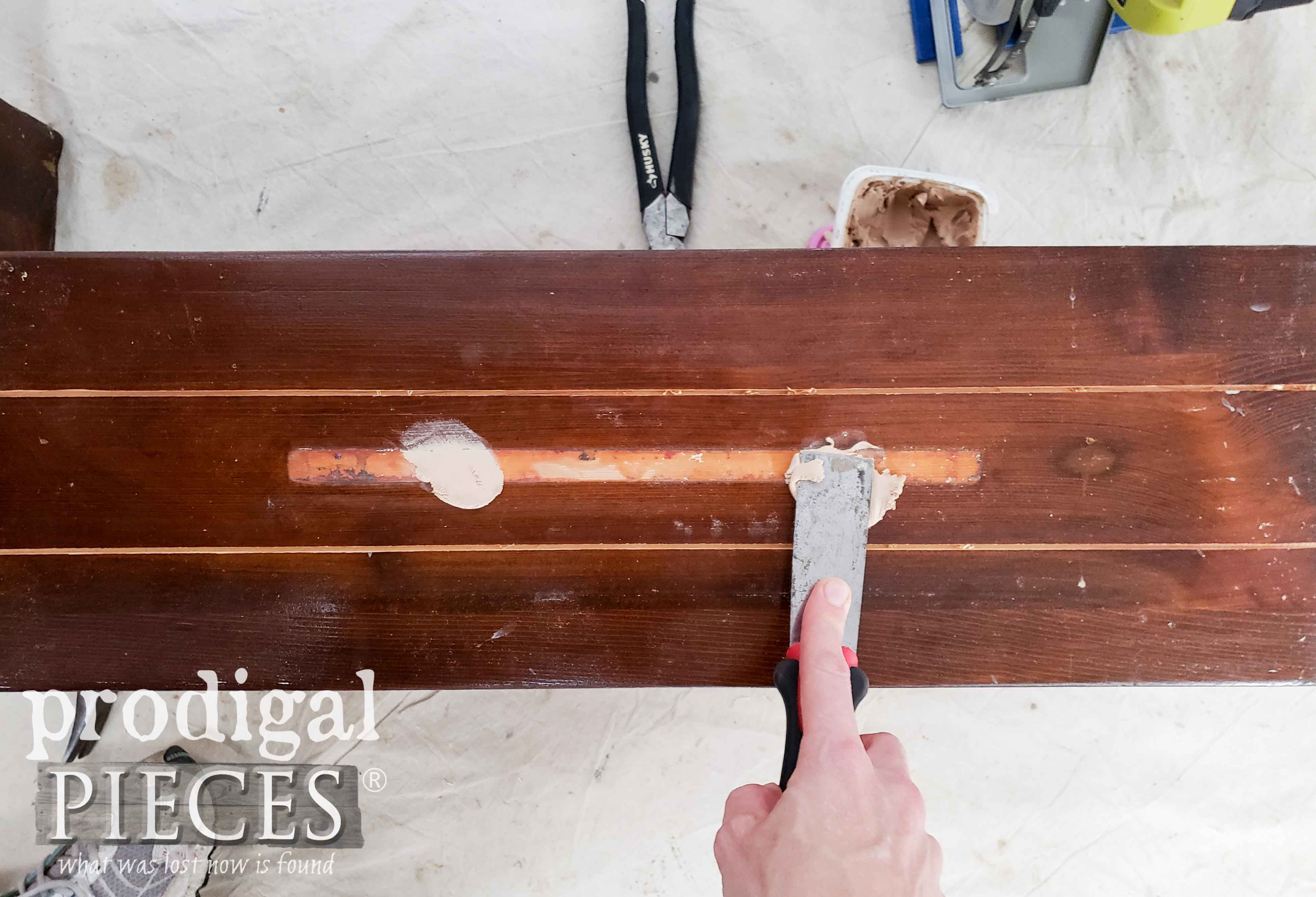 Applying Wood Filler to Drawer Fronts | prodigalpieces.com
