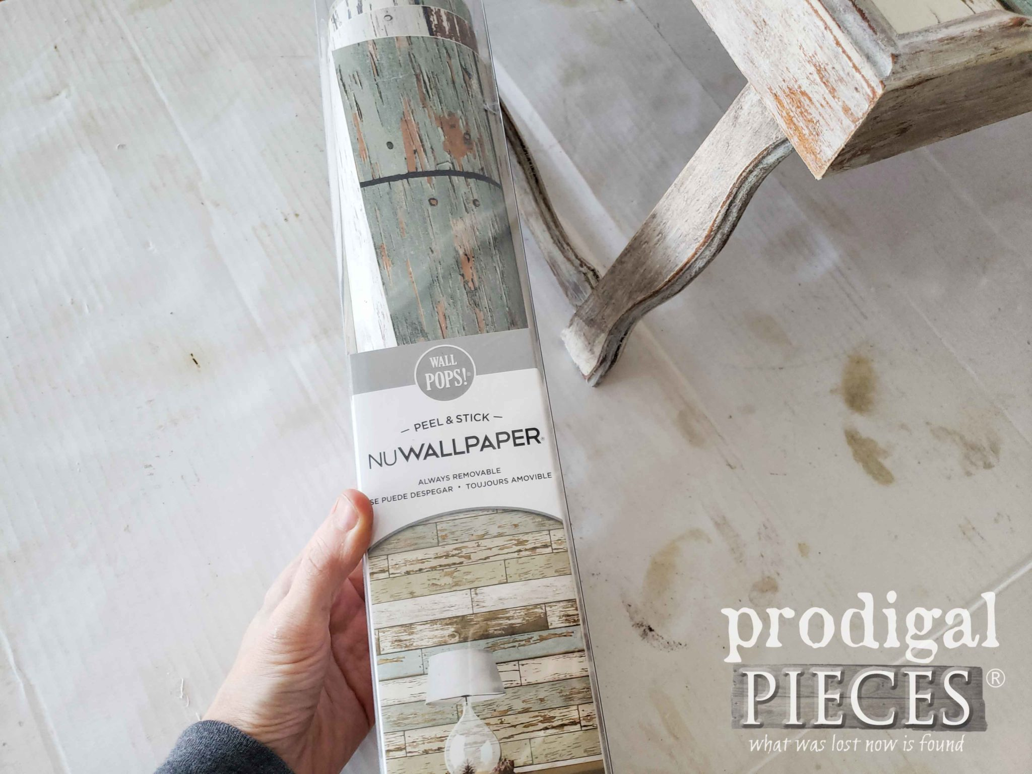 Barn Wood Wallpaper for Vintage Bed Tray Makeover by Prodigal Pieces | prodigalpieces.com
