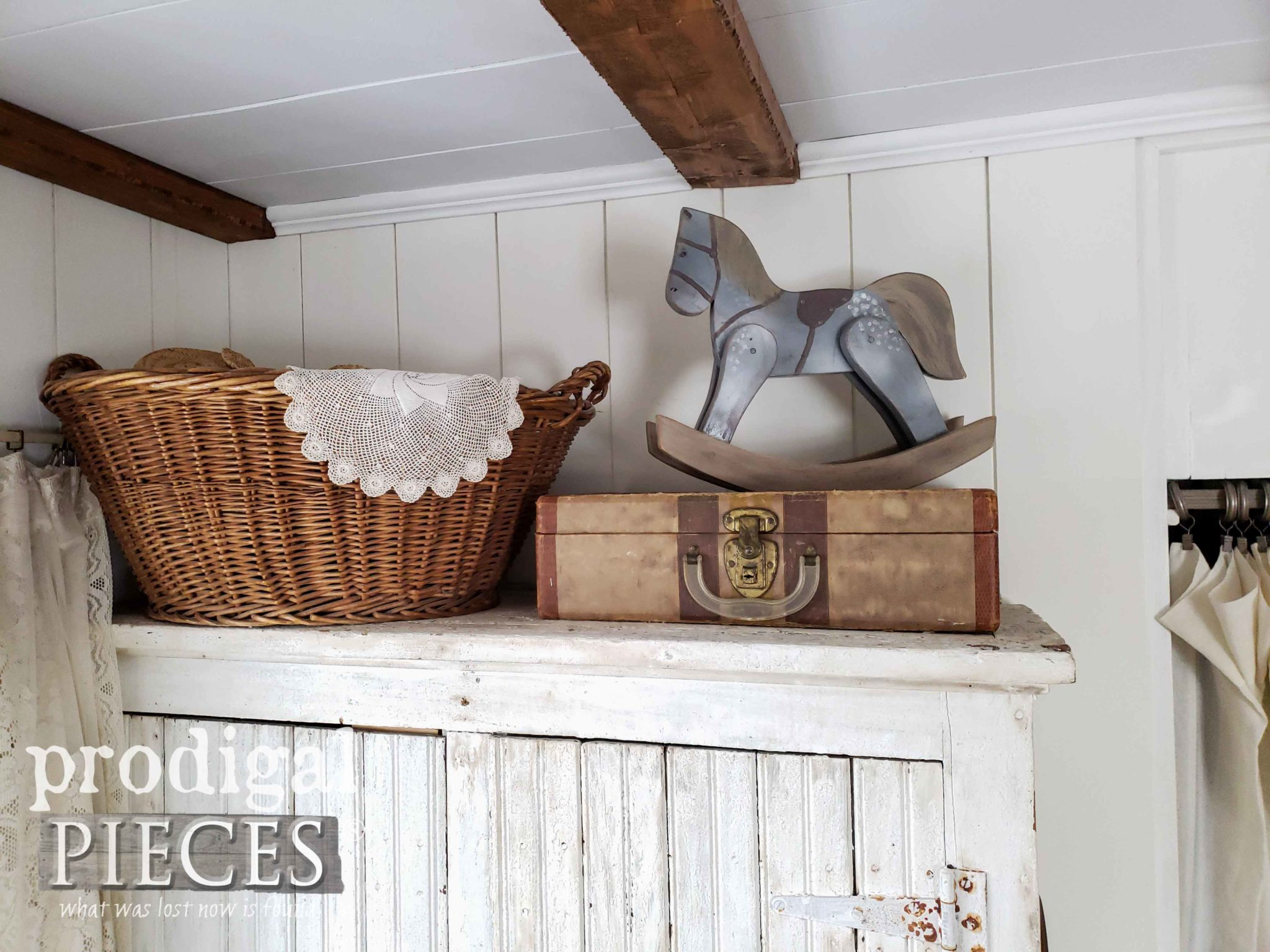 Farmhouse Bedroom Vignette with Handmade Hobby Horse and Vintage Paper Luggage by Larissa of Prodigal Pieces | prodigalpieces.com #prodigalpieces #handmade #farmhouse #vintage #diy #shopping #home #homedecor #homedecorideas