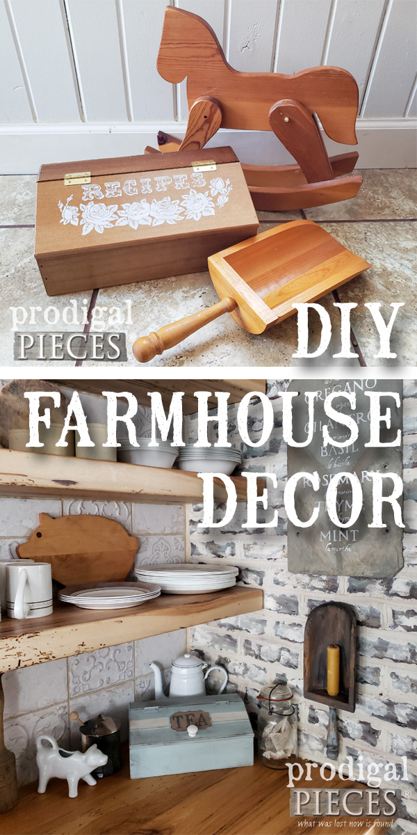 Create your own DIY Farmhouse Decor on a budget and make your own home story. Come see this thrifty transformations by Larissa of Prodigal Pieces at prodigalpieces.com #prodigalpieces #handmade #diy #vintage #farmhouse #home #homedecor #homedecorideas #shopping