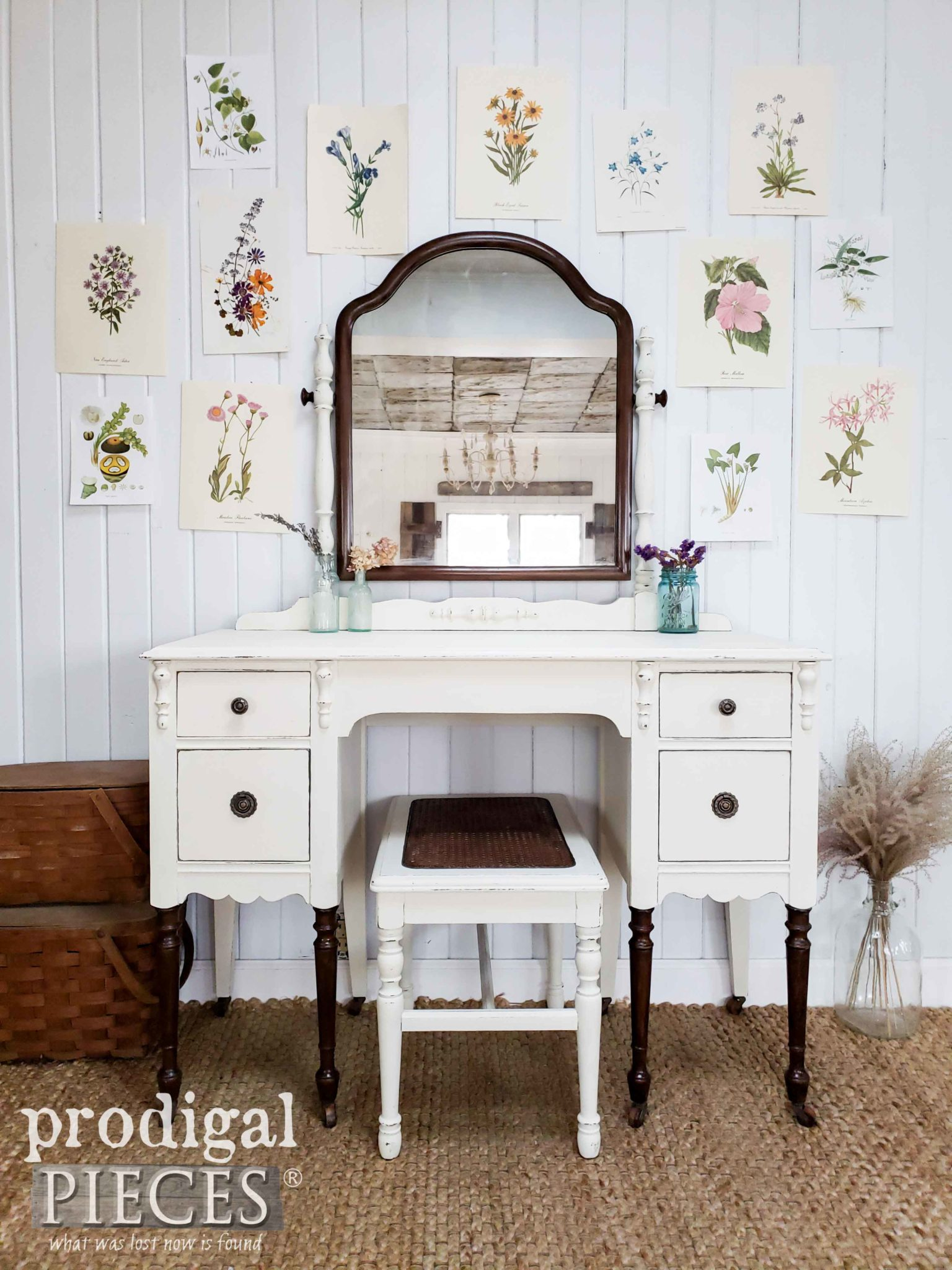 Caned Antique Dressing Table Set with Paint and Stain Makeover by Larissa of Prodigal Pieces | prodigalpieces.com #prodigalpieces #furniture #diy #home #homedecor #homedecorideas #farmhouse