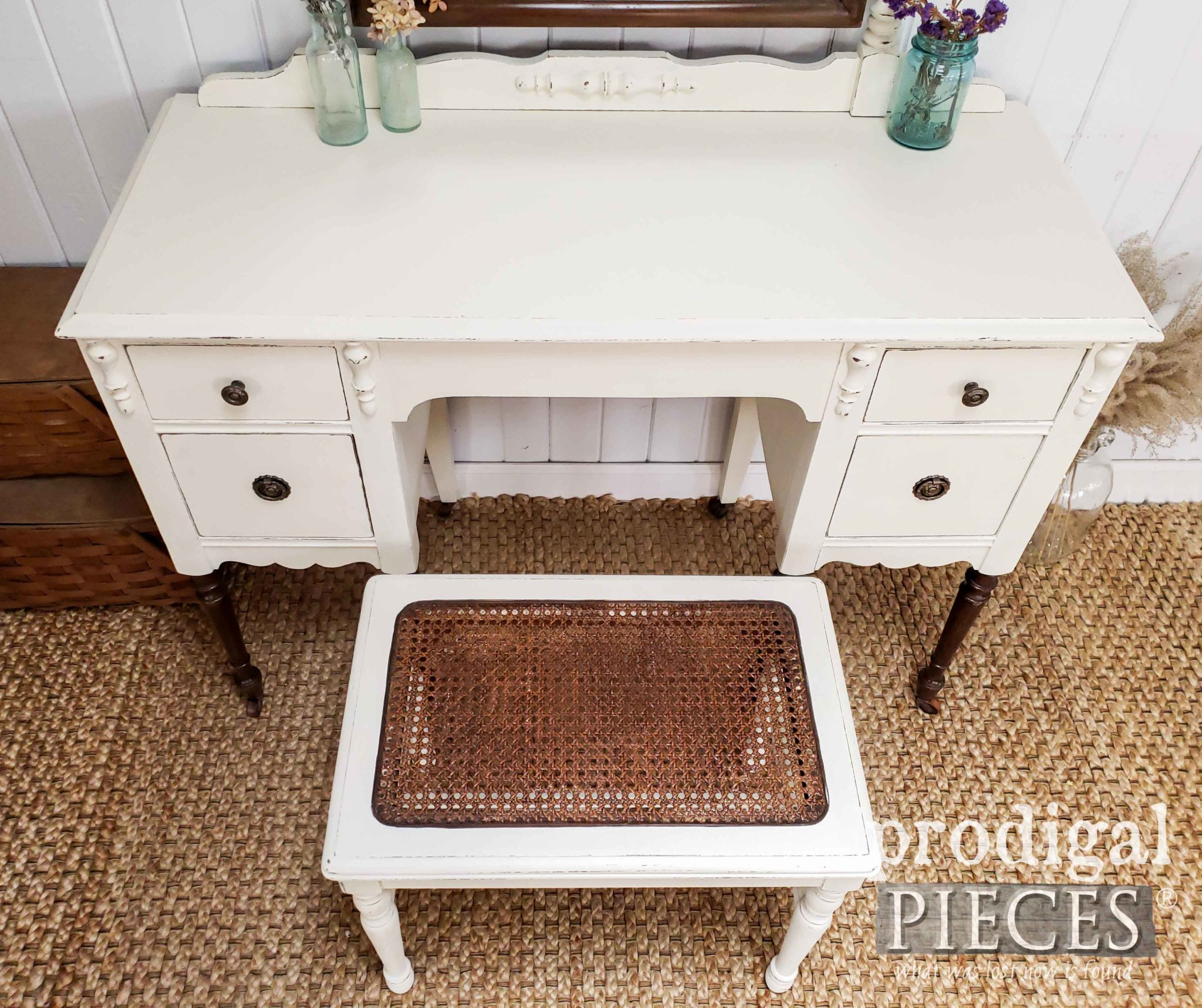 Antique White Dressing Table with Caned Bench Seat by Prodigal Pieces | prodigalpieces.com