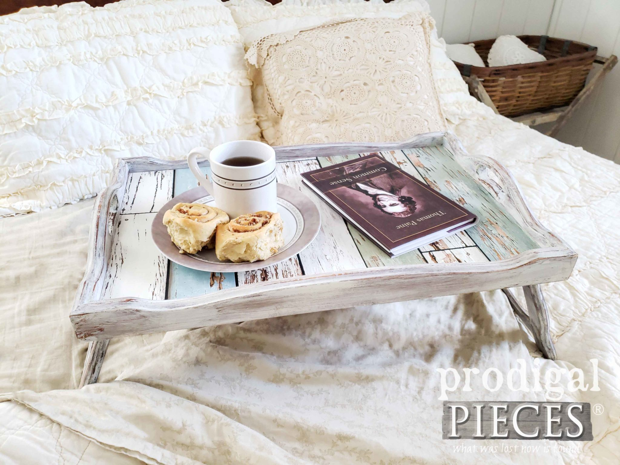 Cottage Style Vintage Bed Tray with Chippy Wood Lining by Larissa of Prodigal Pieces | prodigalpieces.com #prodigalpieces #diy #handmade #home #shopping #homedecor #homedecorideas #farmhouse
