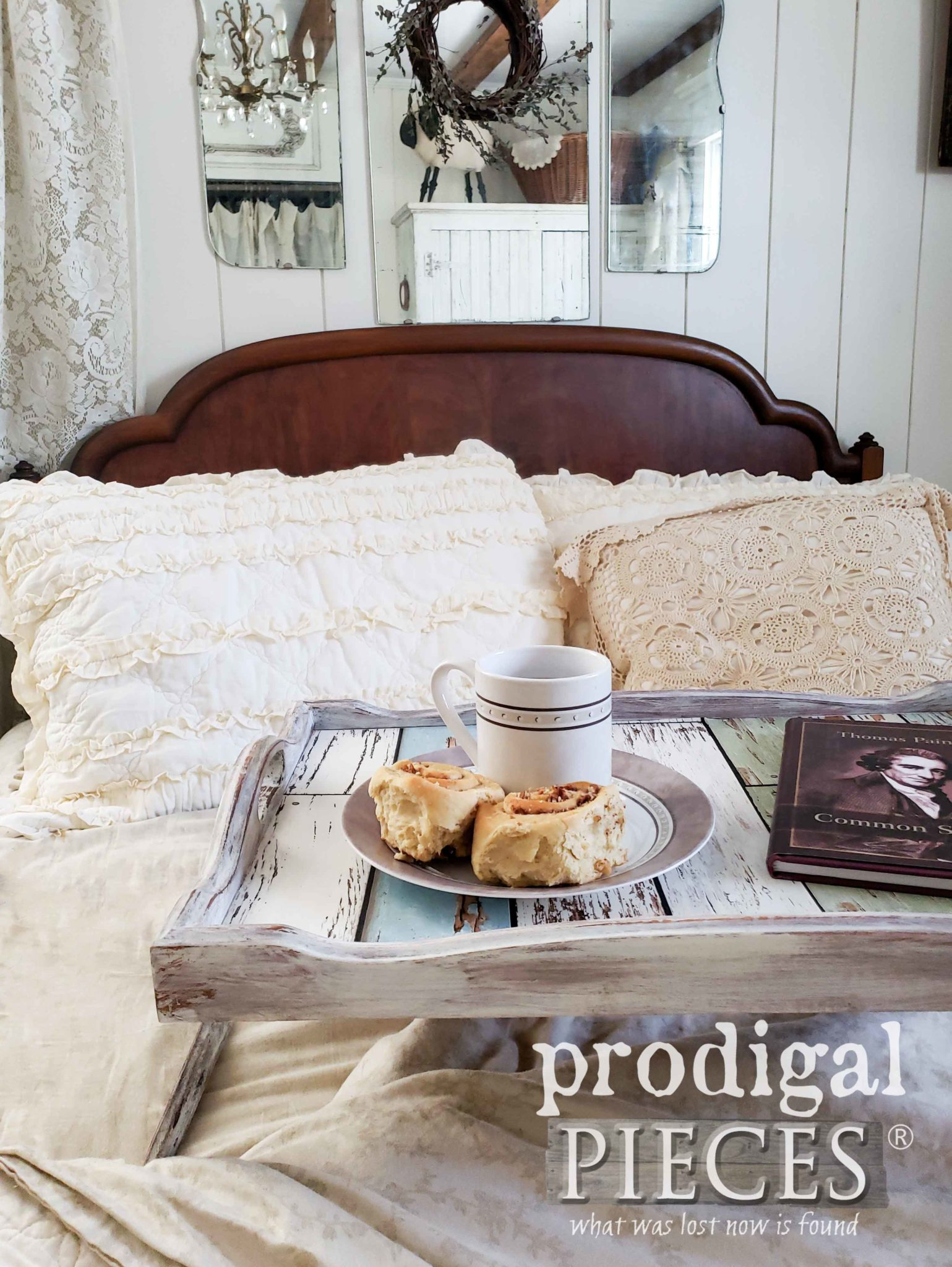 DIY Vintage Bed Tray Makeover by Larissa of Prodigal Pieces | prodigalpieces.com #prodigalpieces #farmhouse #diy #home #homedecor #shopping #homedecorideas
