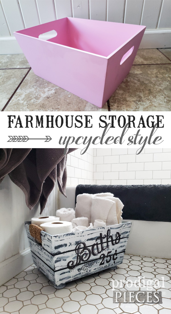 DIY Farmhouse Bathroom Storage from a Thrifted Pink Bin | Video tutorial by Larissa of Prodigal Pieces | prodigalpieces.com #prodigalpieces #diy #farmhouse #home #shopping #homedecor #videos #tutorial #homedecorideas