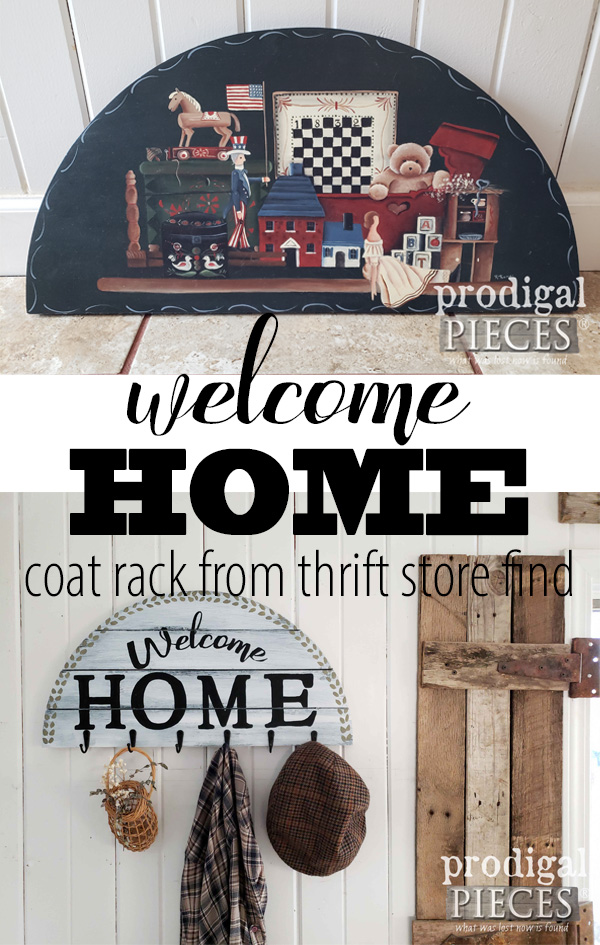Update your home decor by shopping your home and recreating what you already have. Create with DIY welcome sign with the tutorial by Larissa of Prodigal Piece | Head to prodigalpieces.com #prodigalpieces #diy #handmade #home #farmhouse #homedecor #homedecorideas
