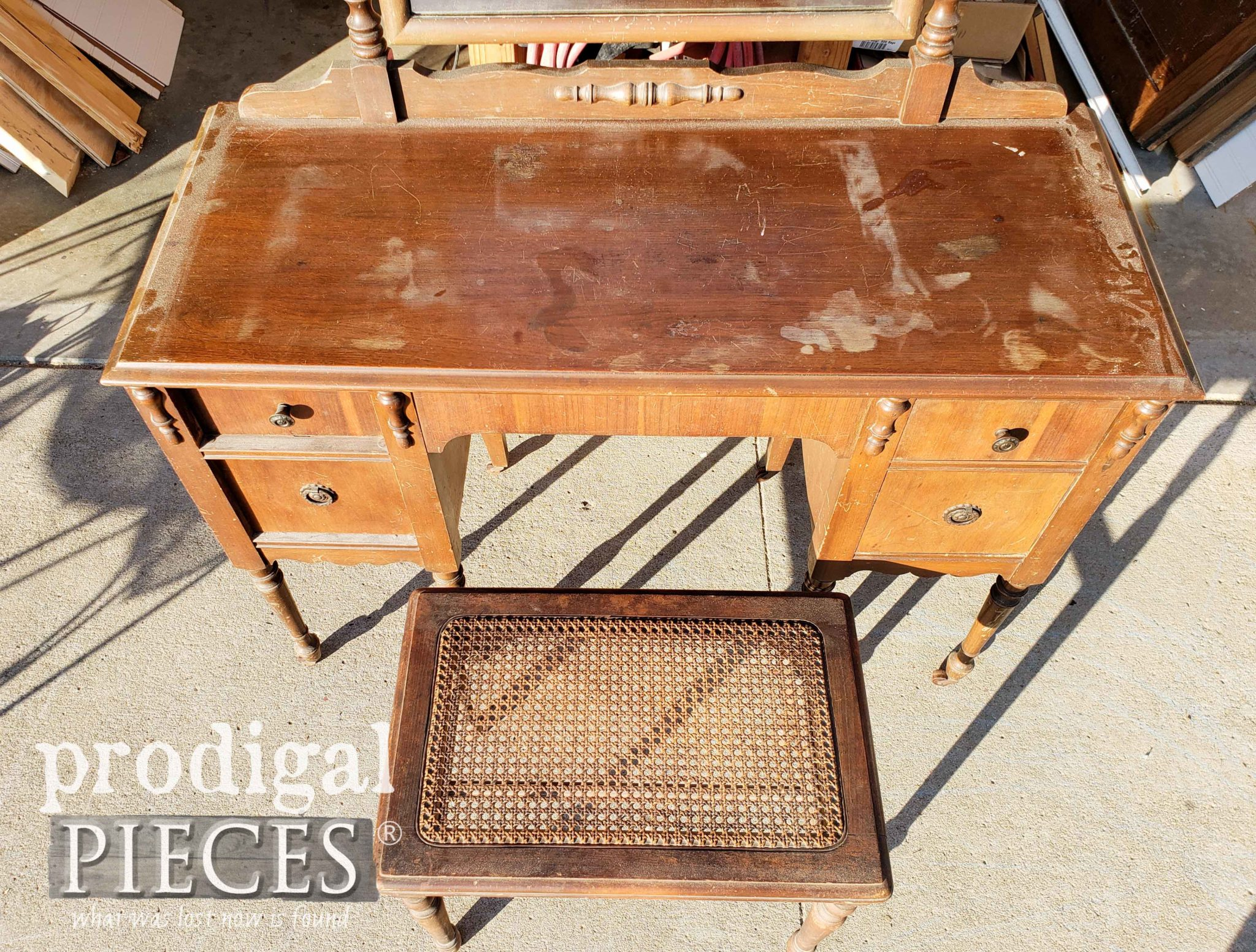 Top of Antique Dressing Table Set with Damage | prodigalpieces.com