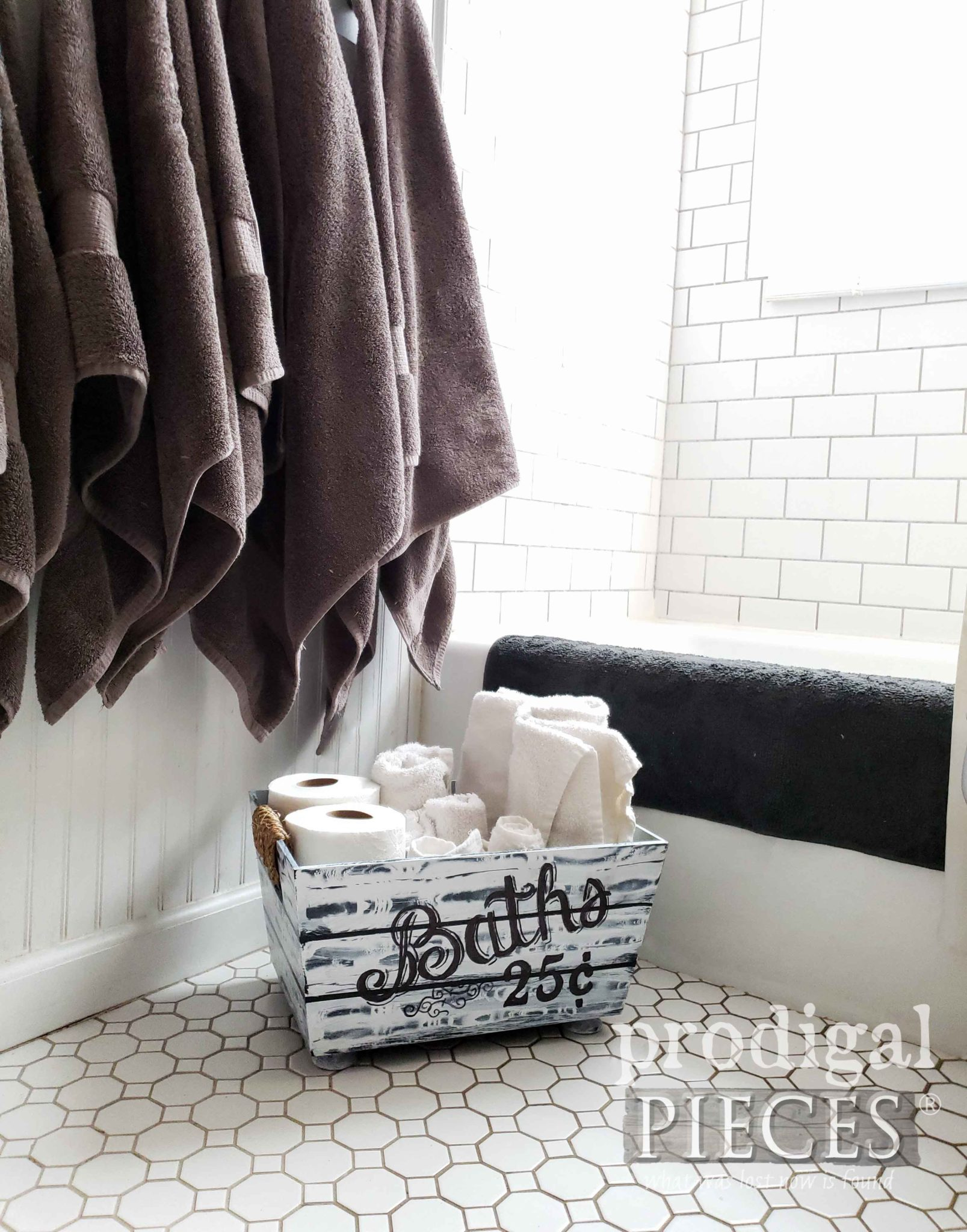 Farmhouse Style Bathroom Bin Storage for Towels and TP | Tutorial by Larissa of Prodigal Pieces | prodigalpieces.com #prodigalpieces #farmhouse #bathroom #storage #home #homedecor #homedecorideas