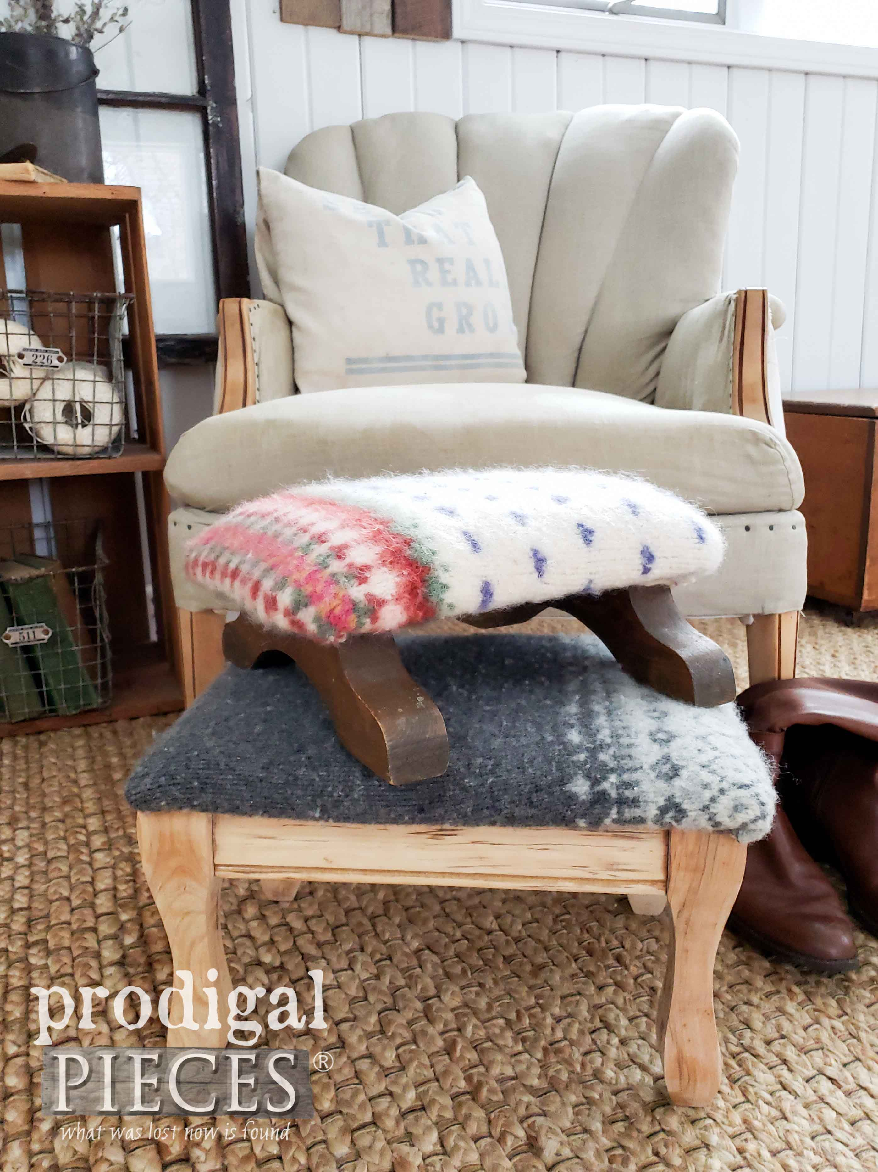 Nordic Farmhouse Style Felted Footstools Created by Larissa of Prodigal Pieces using Thrifted Sweaters | Video Tutorial at prodigalpieces.com #prodigalpieces #shopping #farmhouse #home #handmade #homedecorideas #homedecor #vintage