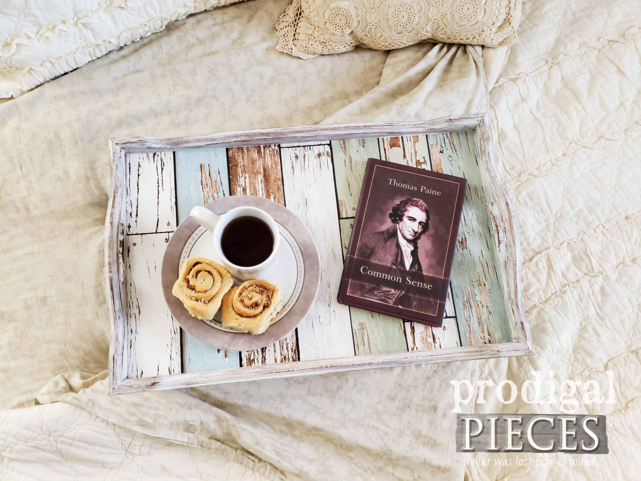 Farmhouse Style Vintage Bed Tray with Chippy Wood Lining by Larissa of Prodigal Pieces | prodigalpieces.com #prodigalpieces #farmhouse #home #shopping #diy #homedecor #vintage #homedecorideas