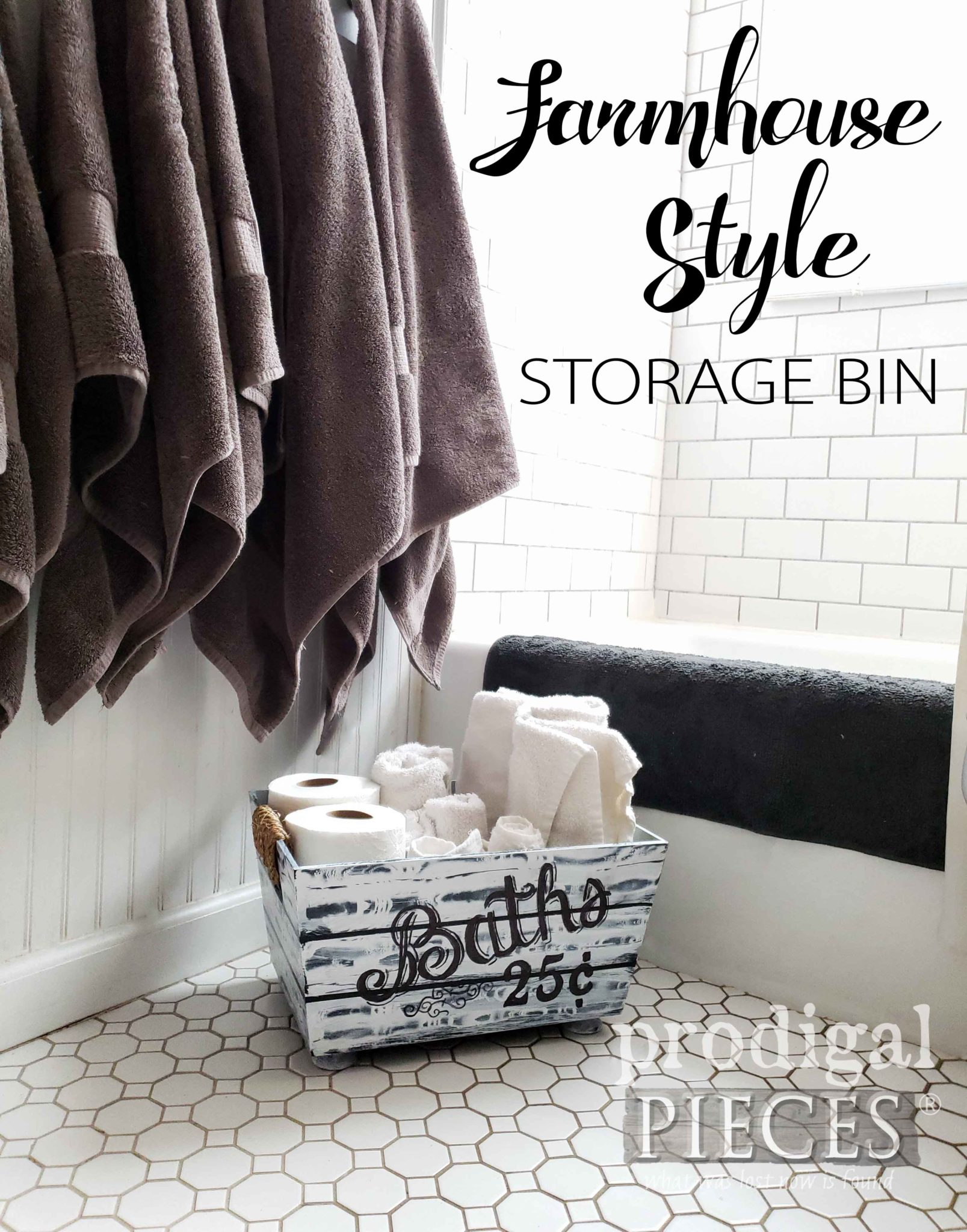 Create this faux wood farmhouse style storage bin using the video tutorial by Larissa of Prodigal Pieces | prodigalpieces.com #prodigalpieces #diy #home #farmhouse #homedecor #vintage #handmade #homedecorideas