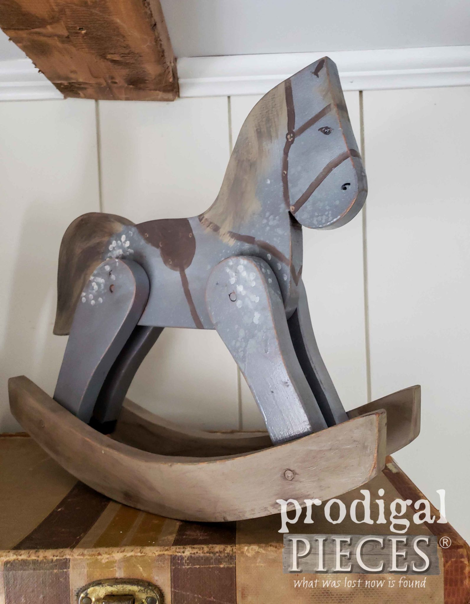 Handmade Farmhouse Toy Hobby Horse in Dappled Gray by Larissa of Prodigal Pieces | prodigalpieces.com #prodigalpieces #handmade #farmhouse #shopping