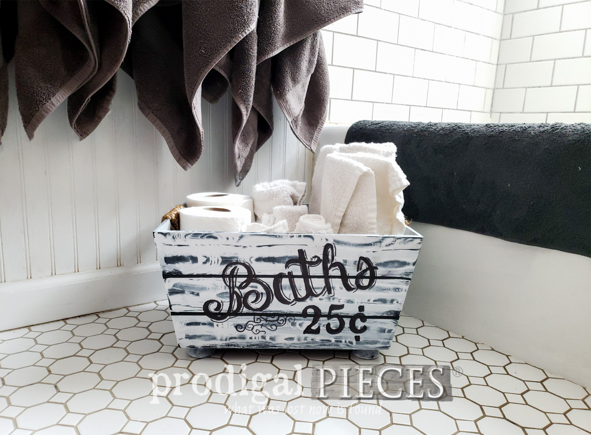 Featured Farmhouse Bathroom Storage from Thrift Store Bin by Larissa of Prodigal Pieces | prodigalpieces.com #prodigalpieces #farmhouse #home #shopping #storage #tutorial #homedecor #homedecorideas #handmade