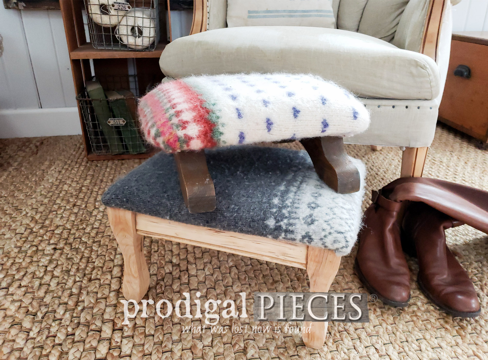 Featured Felted Wool Footstools Upholstered with Thrifted Sweaters | DIY video tutorial by Larissa of Prodigal Pieces | prodigalpieces.com #prodigalpieces #handmade #vintage #farmhouse #furniture #home #homedecor #homedecorideas