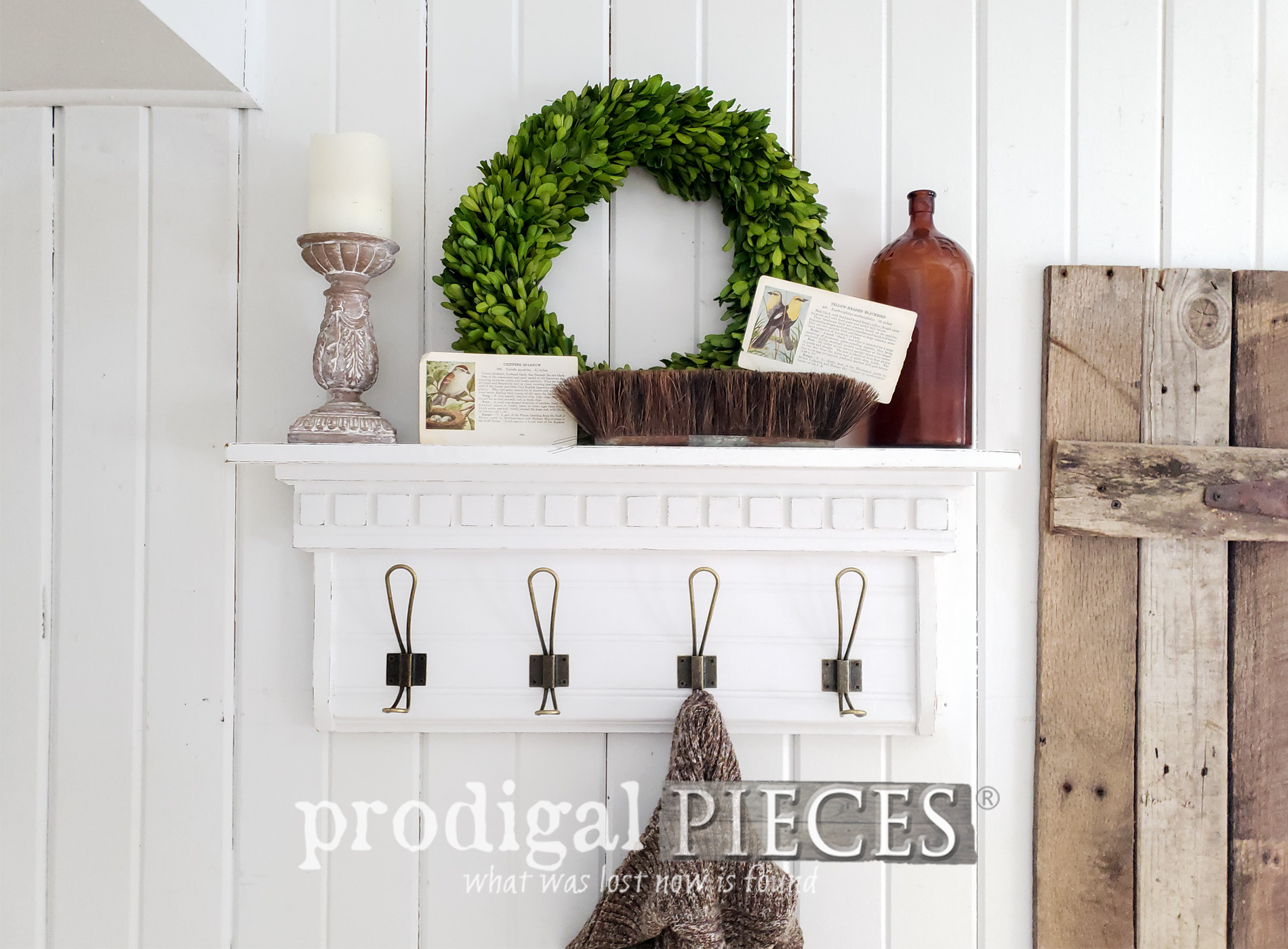Featured Upcycled Farmhouse Coat Rack from Thrift Store Shelf | Video tutorial & giveaway by Larissa of Prodigal Pieces | prodigalpieces.com #prodigalpieces #diy #handmade #farmhouse #tutorial #videos #giveaway #home #homedecor #homedecorideas