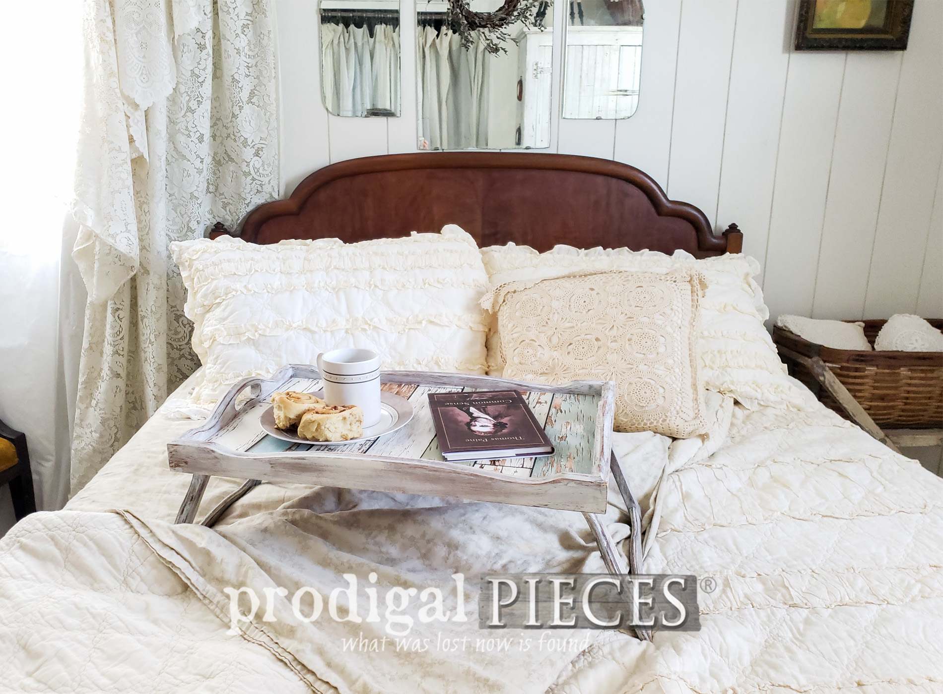 Featured Vintage Bed Tray Makeover into Farmhouse Style by Larissa of Prodigal Pieces | prodigalpieces.com #prodigalpieces #diy #home #handmade #homedecor #vintage #homedecorideas #farmhouse