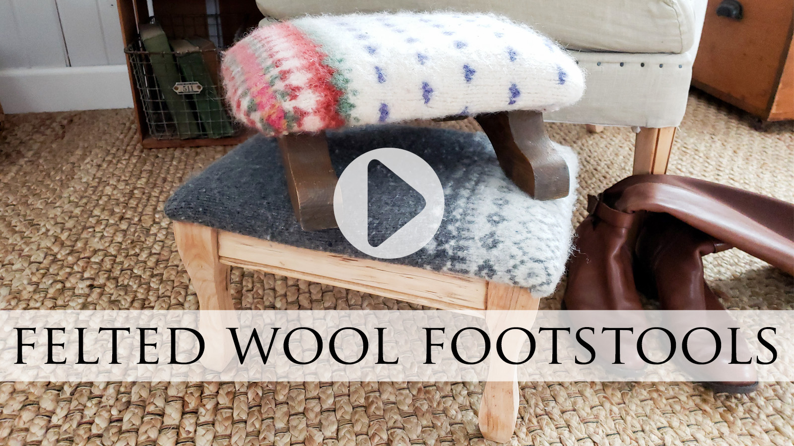 DIY Felted Wool Footstools Video Tutorial by Larissa of Prodigal Pieces | prodigalpieces.com #prodigalpieces #diy #home #furniture #homedecor