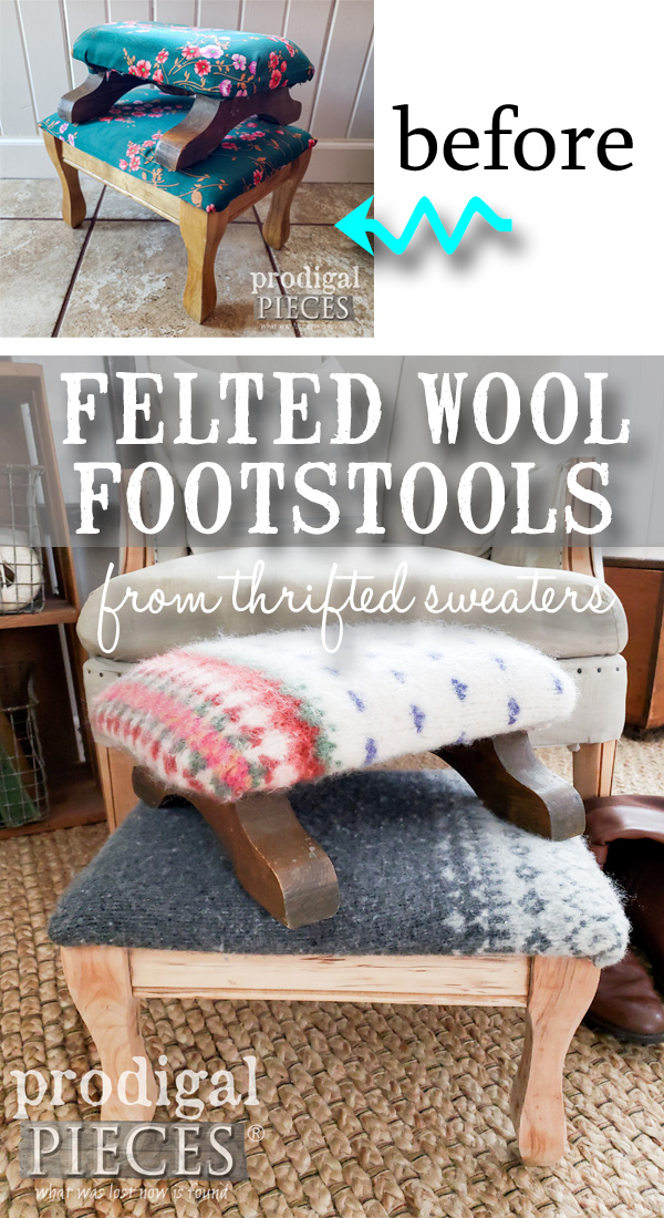 Grab those wool sweaters and give your footstool a cute and cozy update. These felted wool footstools are sure to be favorite. Full of Nordic farmhouse style and easy to do with the step-by-step video tutorial by Larissa of Prodigal Pieces | Head to prodigalpieces.com #prodigalpieces #diy #handmade #furniture #shopping #vintage #home #homedecorideas #homedecor