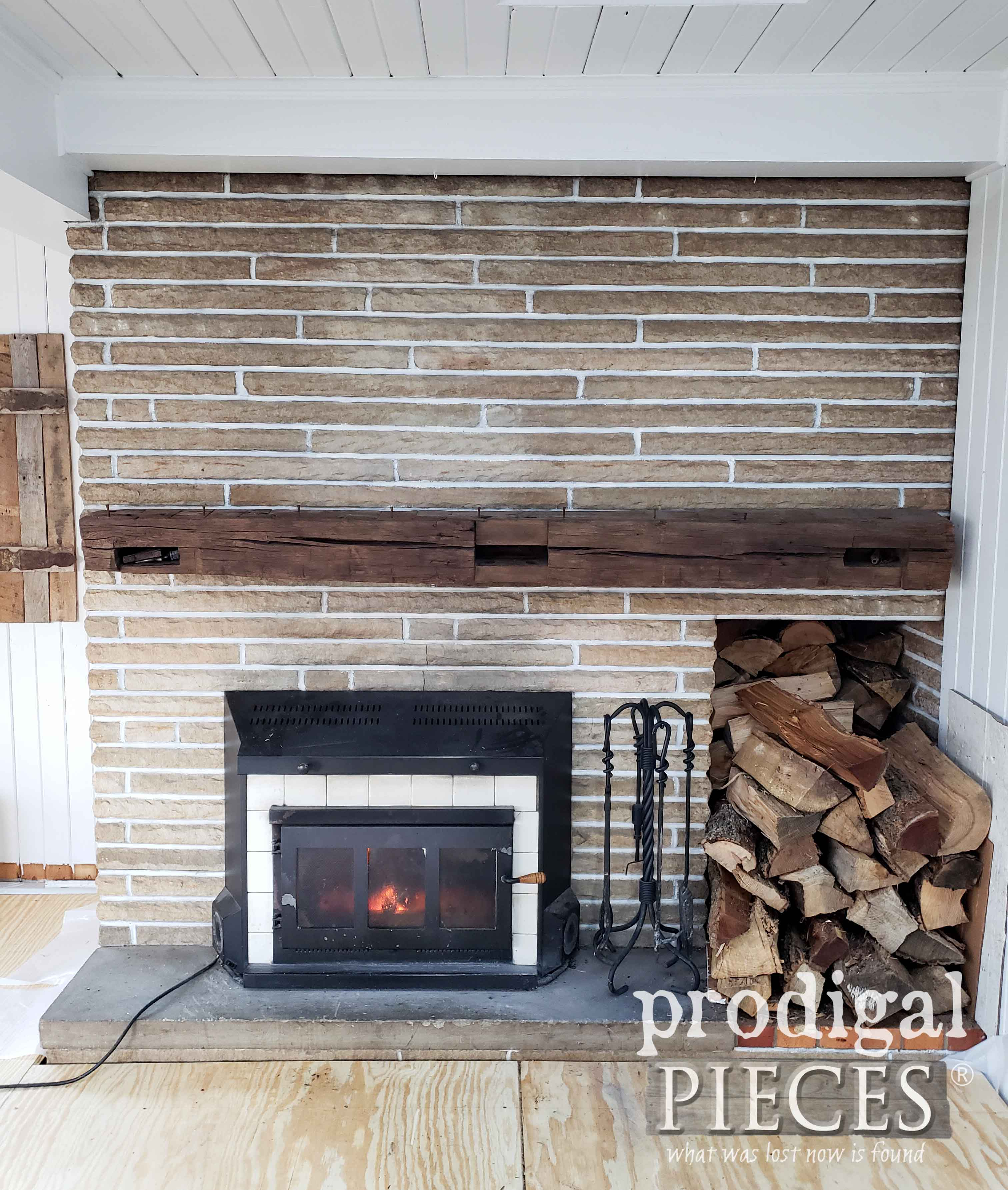 Farmhouse Style Sandstone Fireplace Before Makeover by Prodigal Pieces | prodigalpieces.com