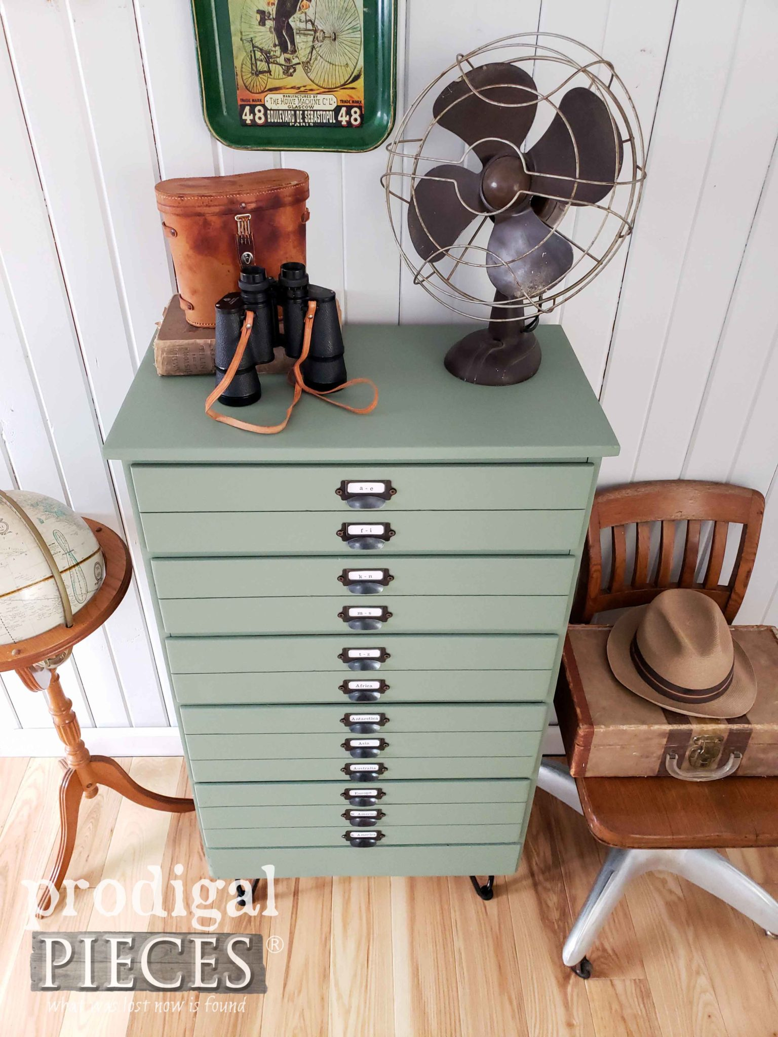 Vintage Style Green Map Cabinet by Larissa of Prodigal Pieces | prodigalpieces.com #prodigalpieces #diy #furniture #home #farmhouse #homedecor #homedecorideas #shopping